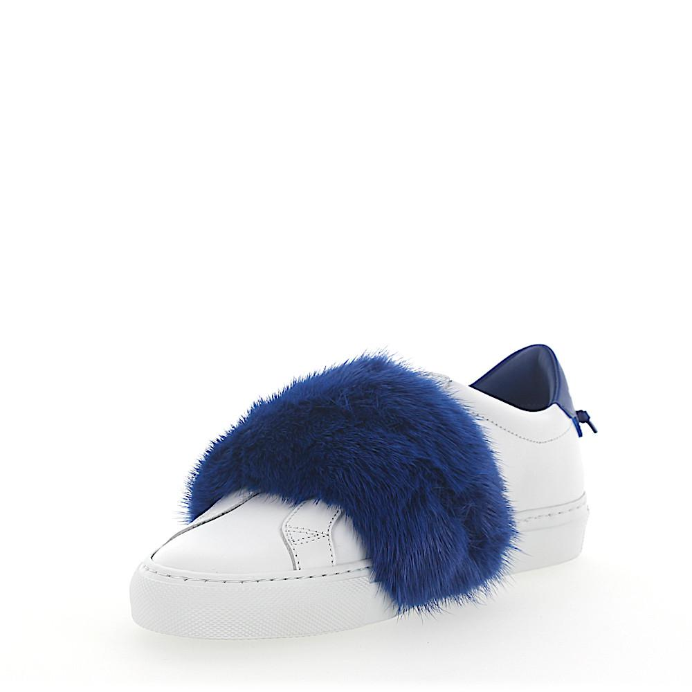 Slip-On Sneakers leather white mink fur blue Givenchy GAQldy