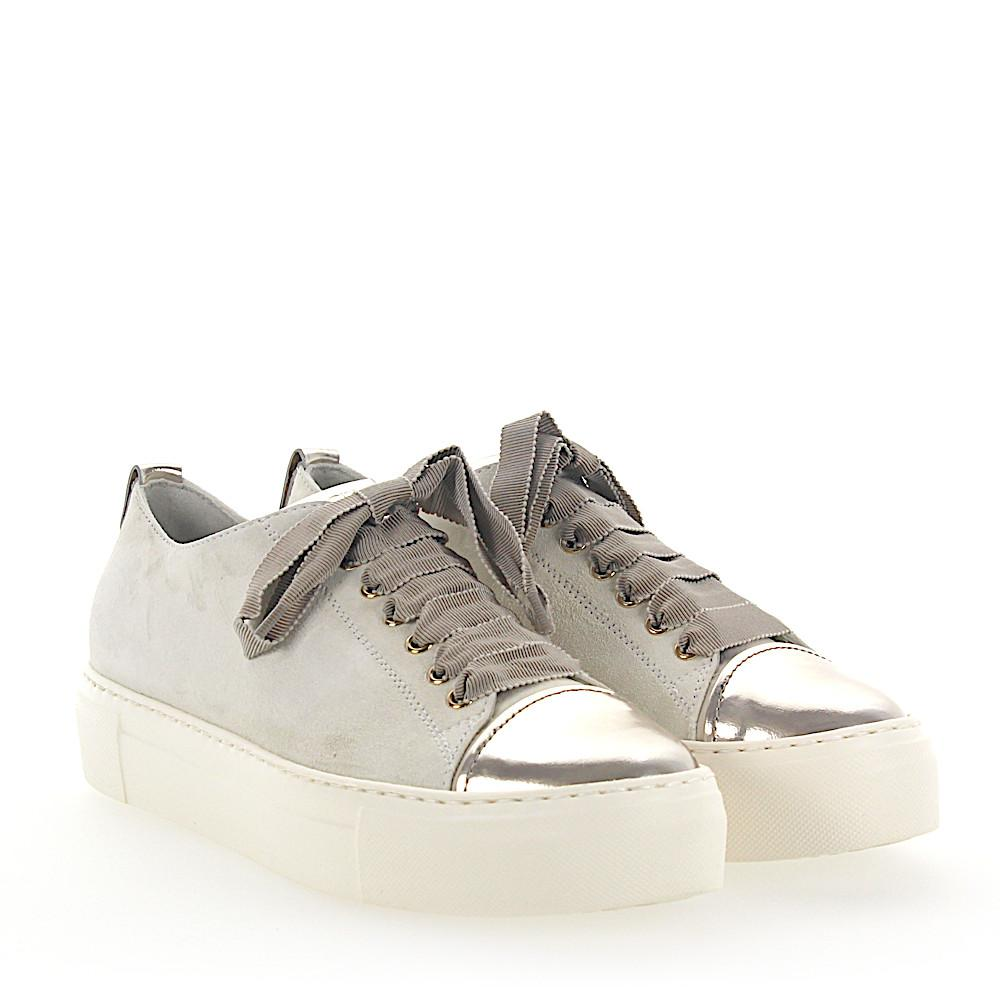 Sneakers D925065 Plateau suede white leather metallic gold Attilio Giusti Leombruni jgtncaosu