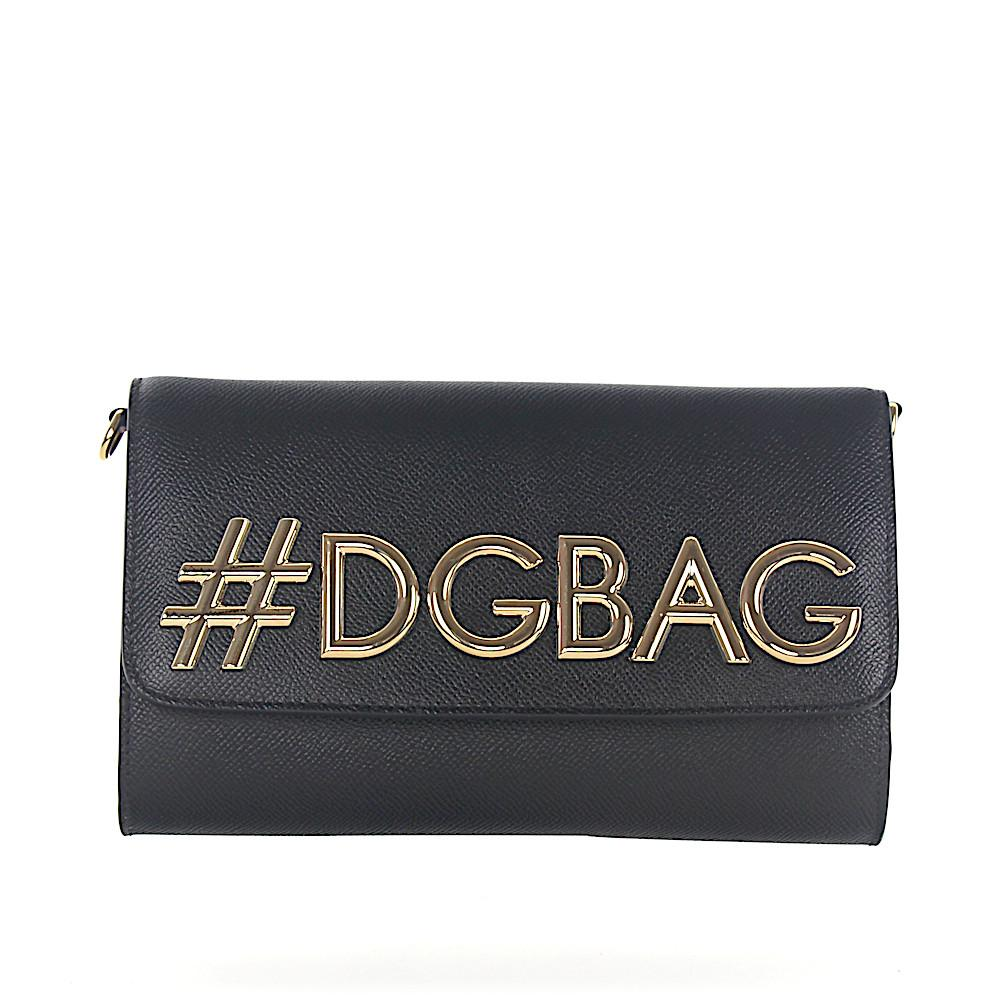 Shoulder bag Clutch leather black embossed DG logo gold Dolce & Gabbana ON3U09M