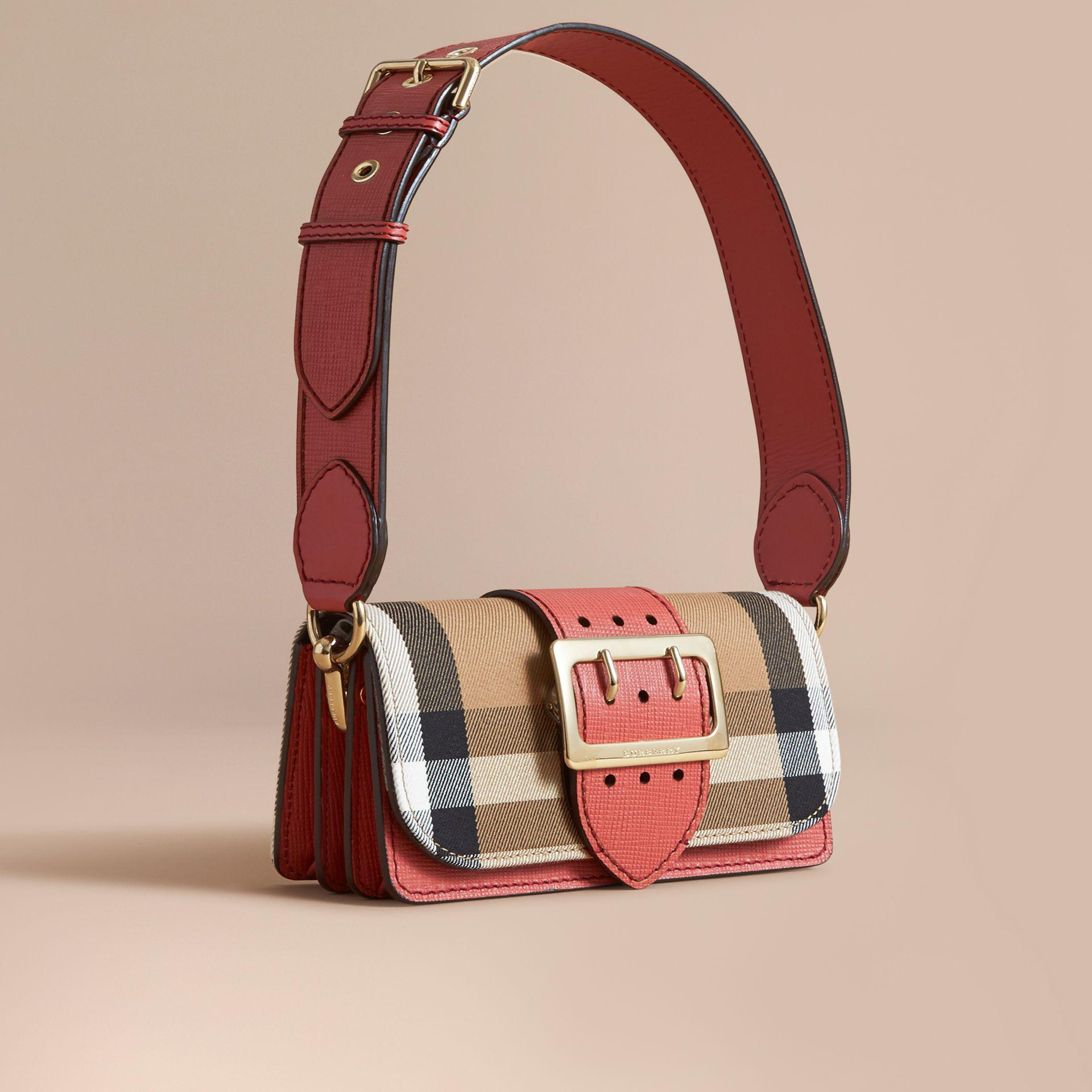 c9342d8da12d Lyst - Burberry The Small Buckle Bag In House Check And Leather ...