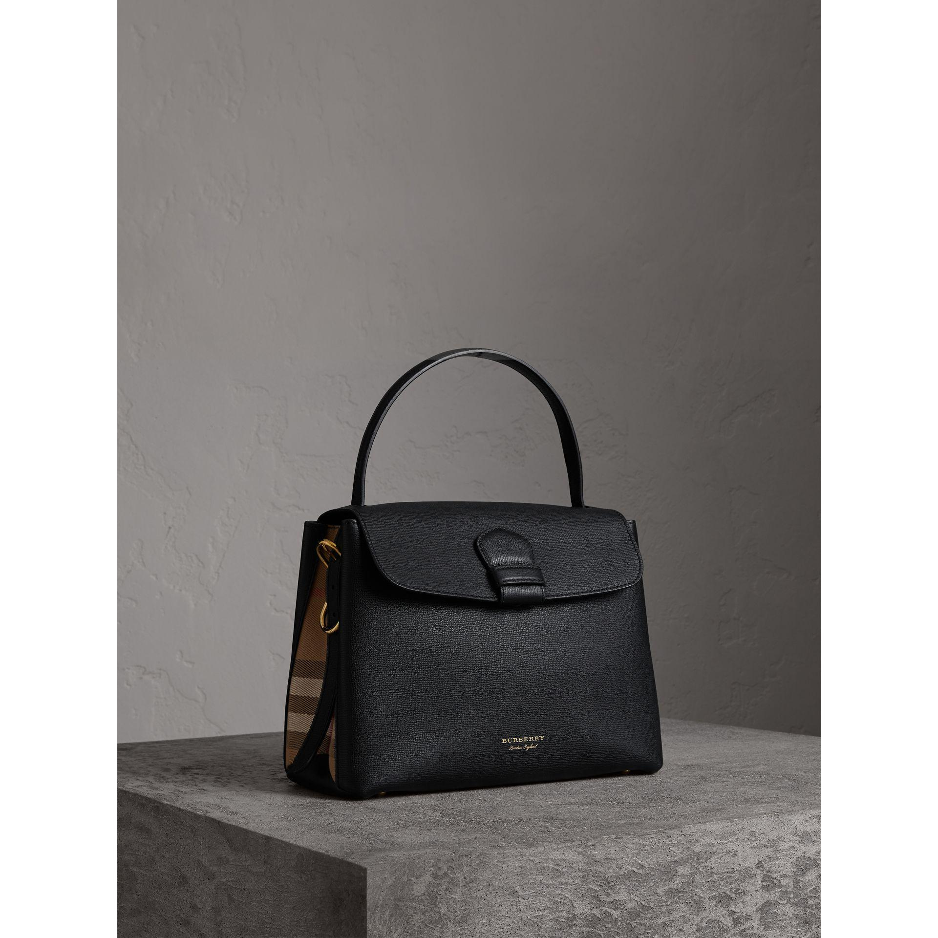 863ab5fda245 Burberry Medium Grainy Leather And House Check Tote Bag Black in ...