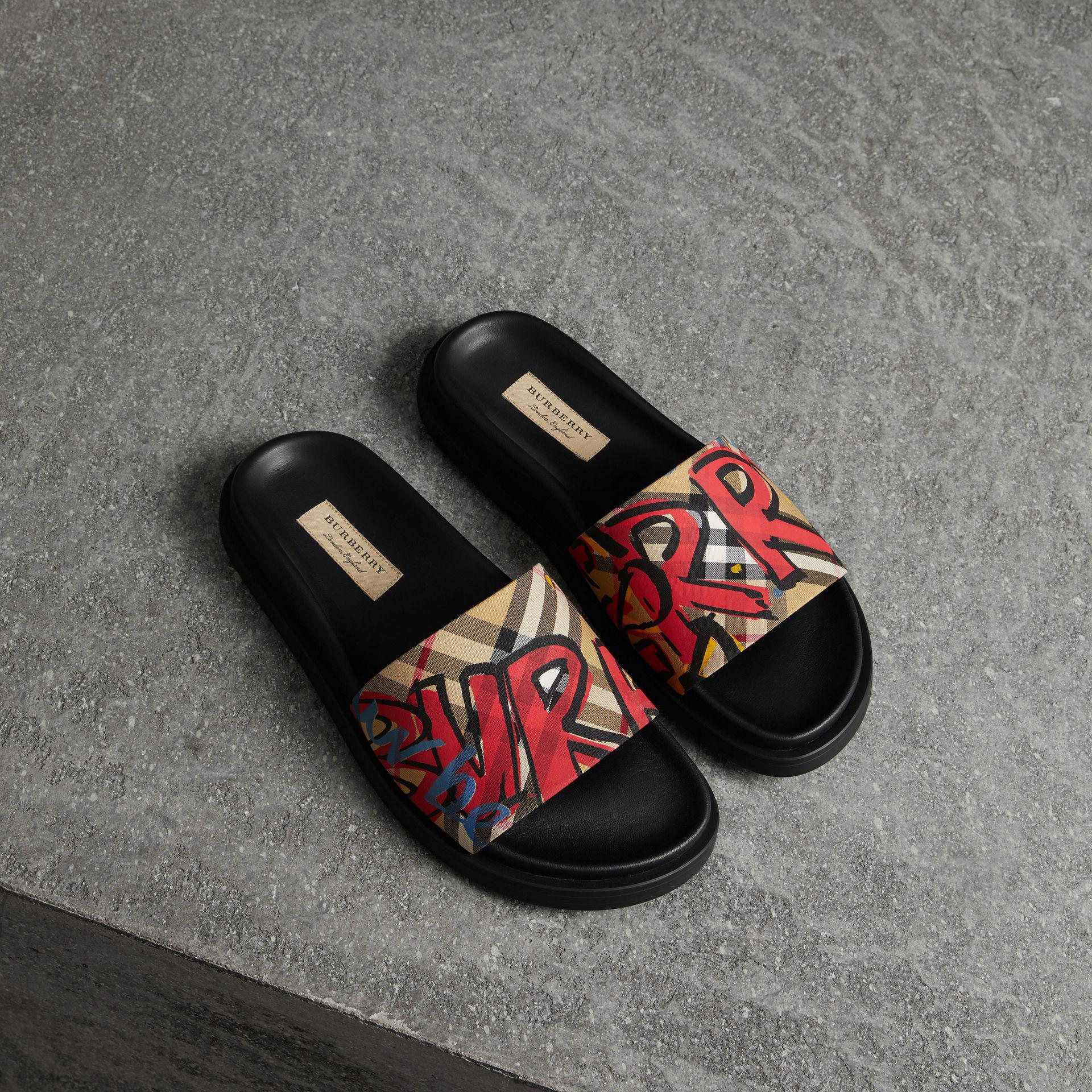 caff2557315d8 Lyst - Burberry Graffiti Print Vintage Check And Leather Slides