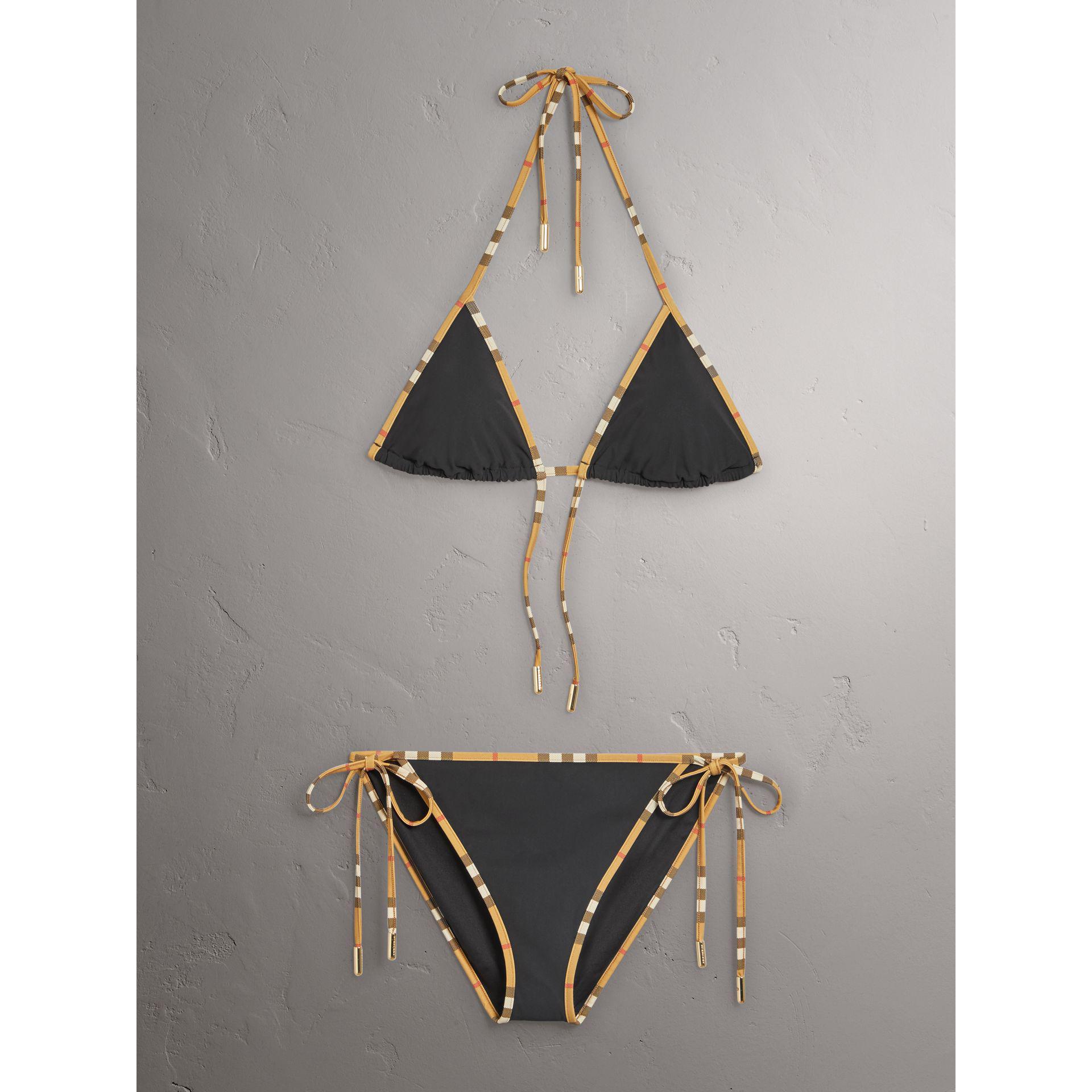 00f54a0d798f5 Burberry Vintage Check Trim Triangle Bikini in Black - Lyst