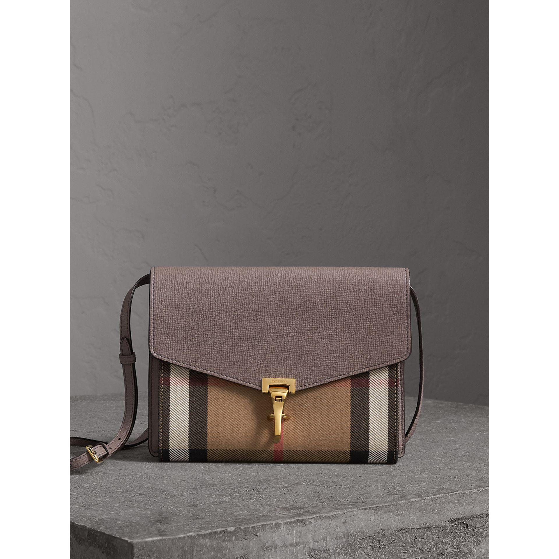 f8f70821f5e9 Burberry Small Leather And House Check Crossbody Bag Thistle Grey in ...