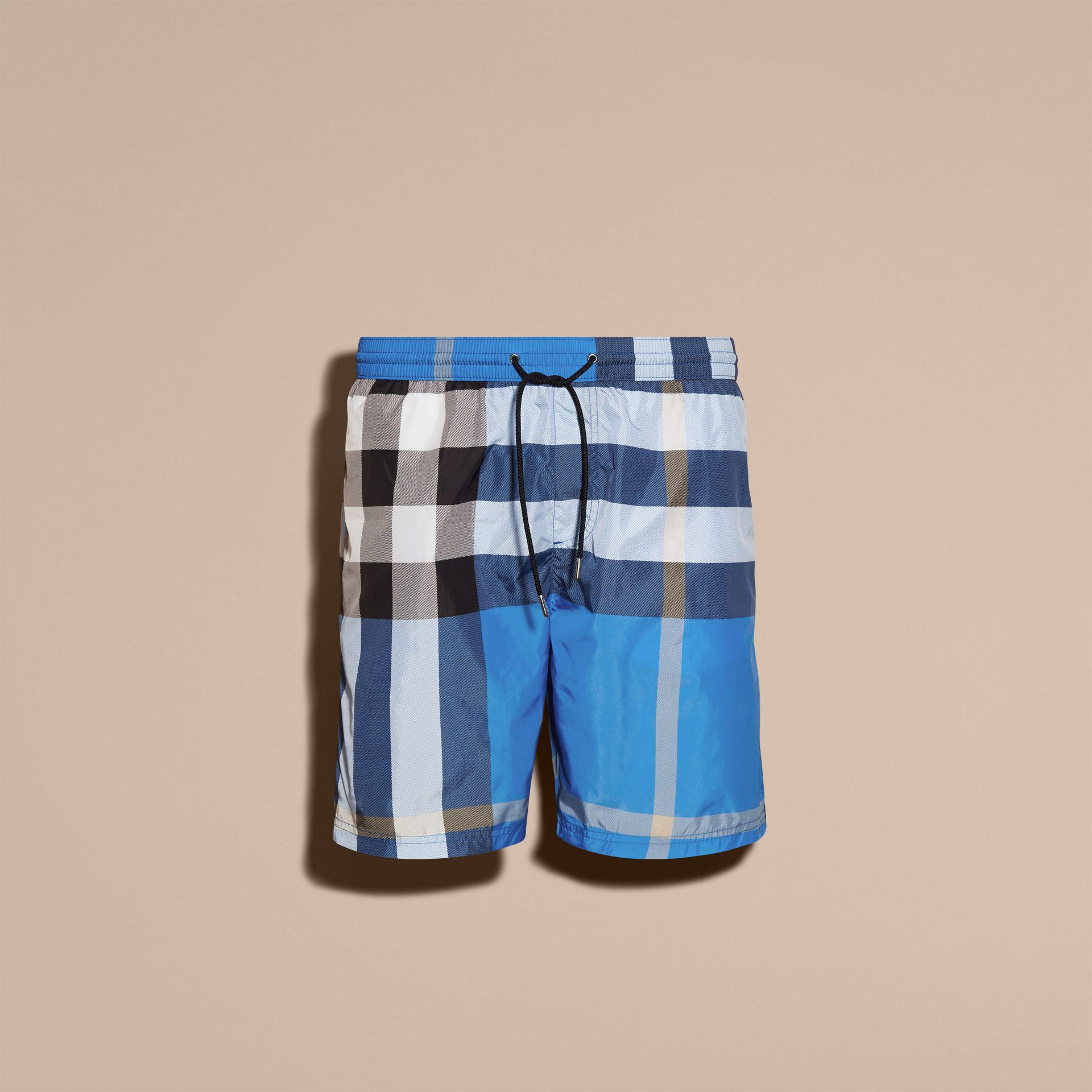 60f7158407e46 Burberry Check Swim Shorts Cerulean Blue in Blue for Men - Lyst