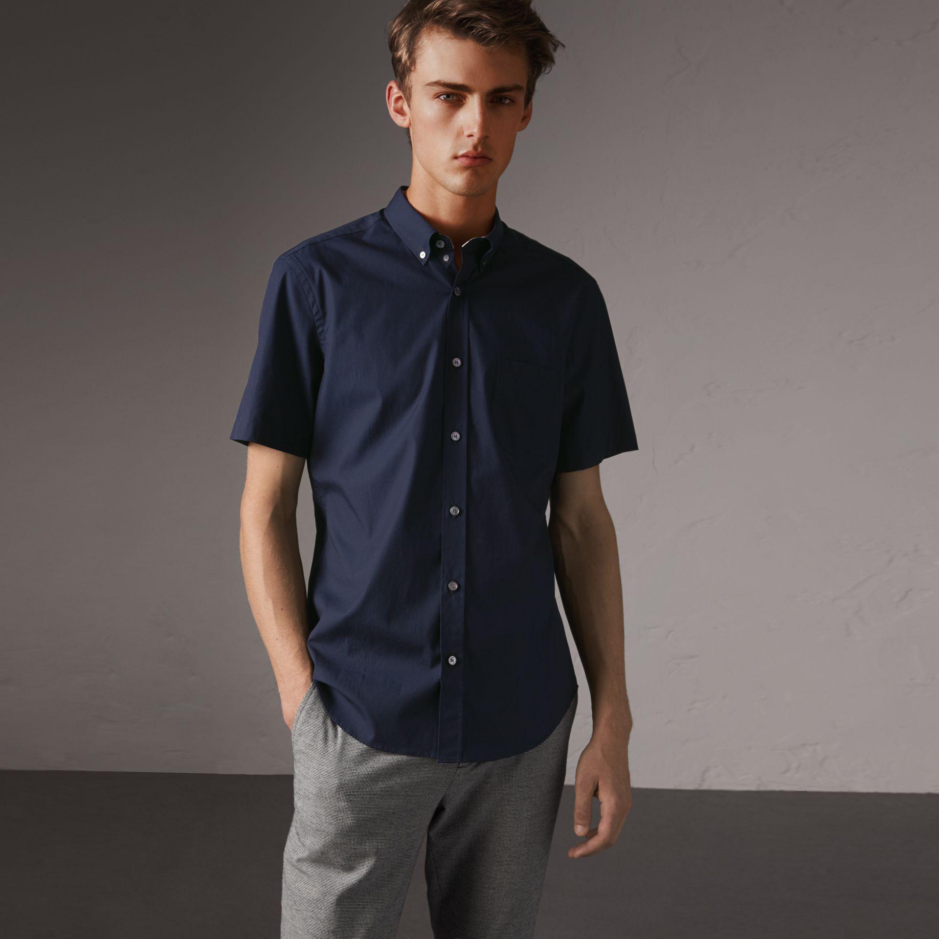 21b77db2b30e Lyst - Burberry Short-sleeved Stretch Cotton Poplin Shirt Navy in ...