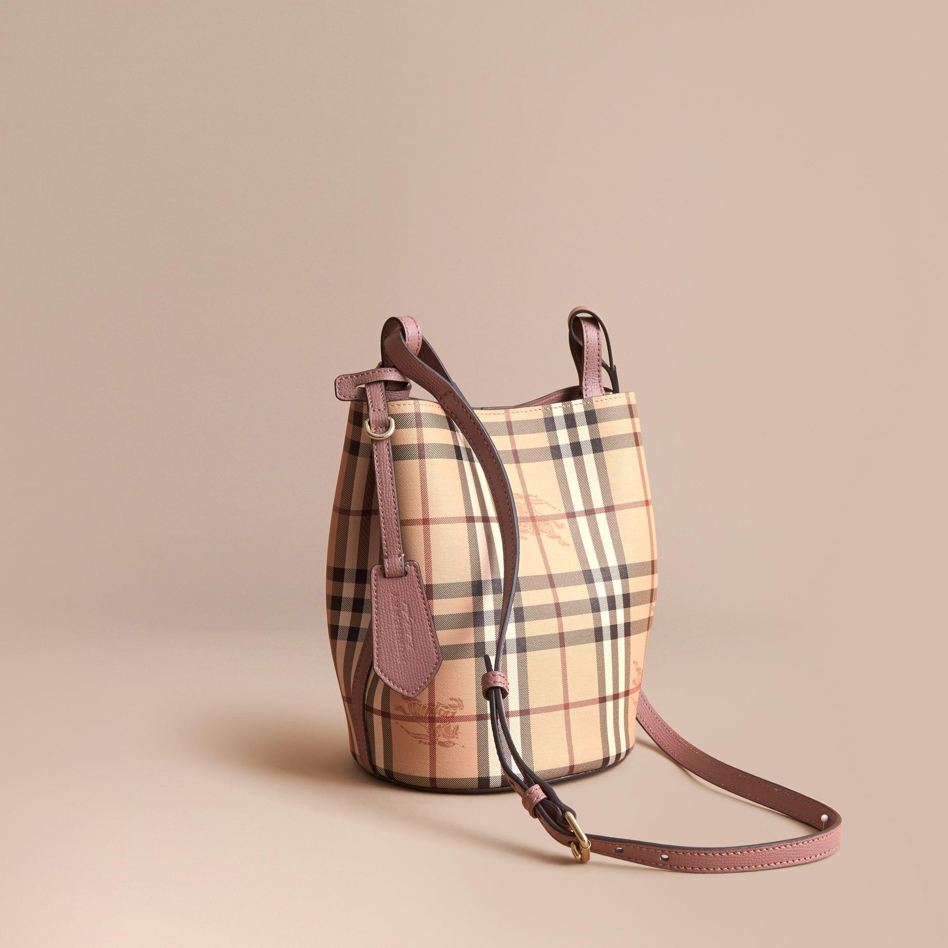 77753db0c2 Burberry Leather And Haymarket Check Crossbody Bucket Bag Light ...