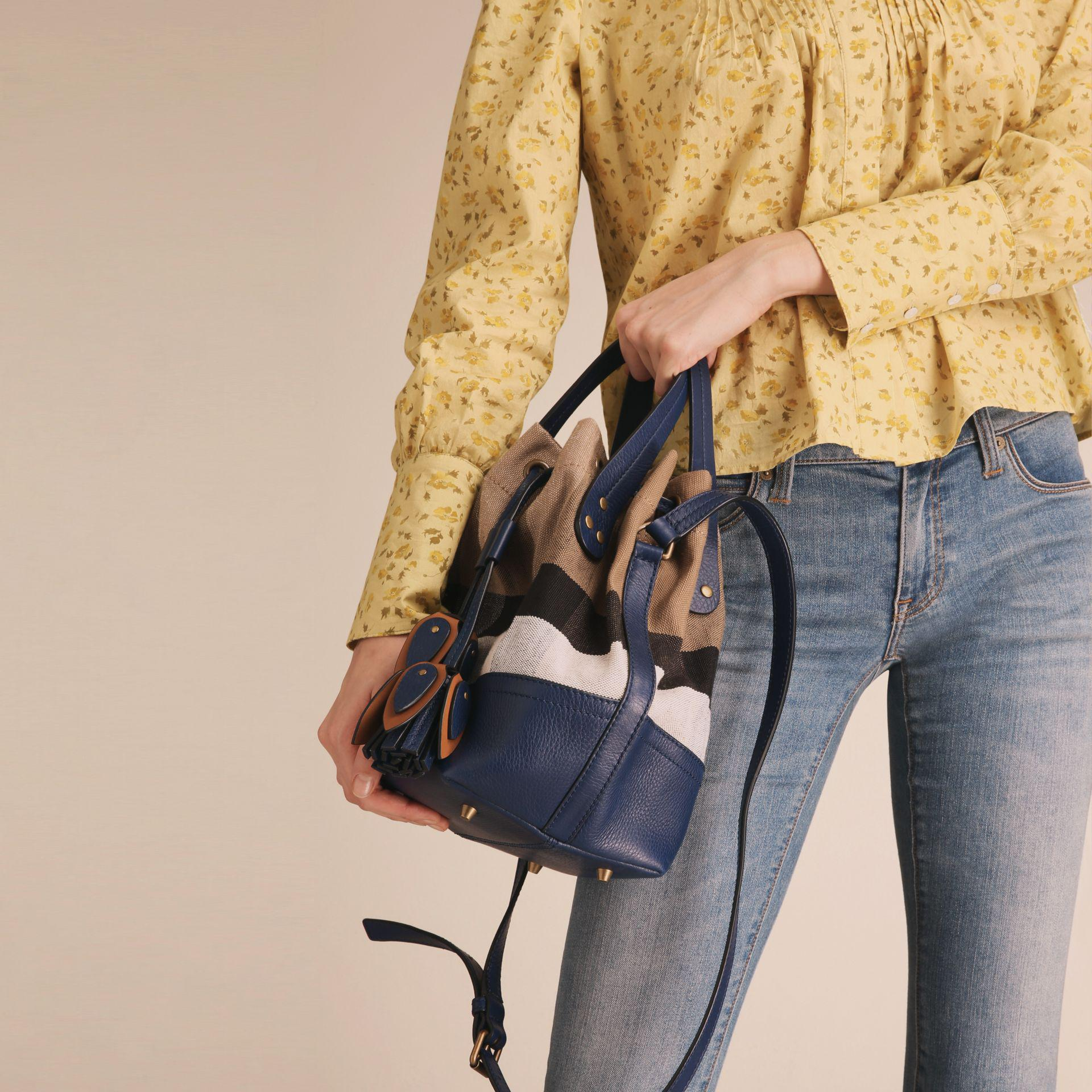 905dc35db60e Lyst - Burberry Small Canvas Check And Leather Bucket Bag In ...
