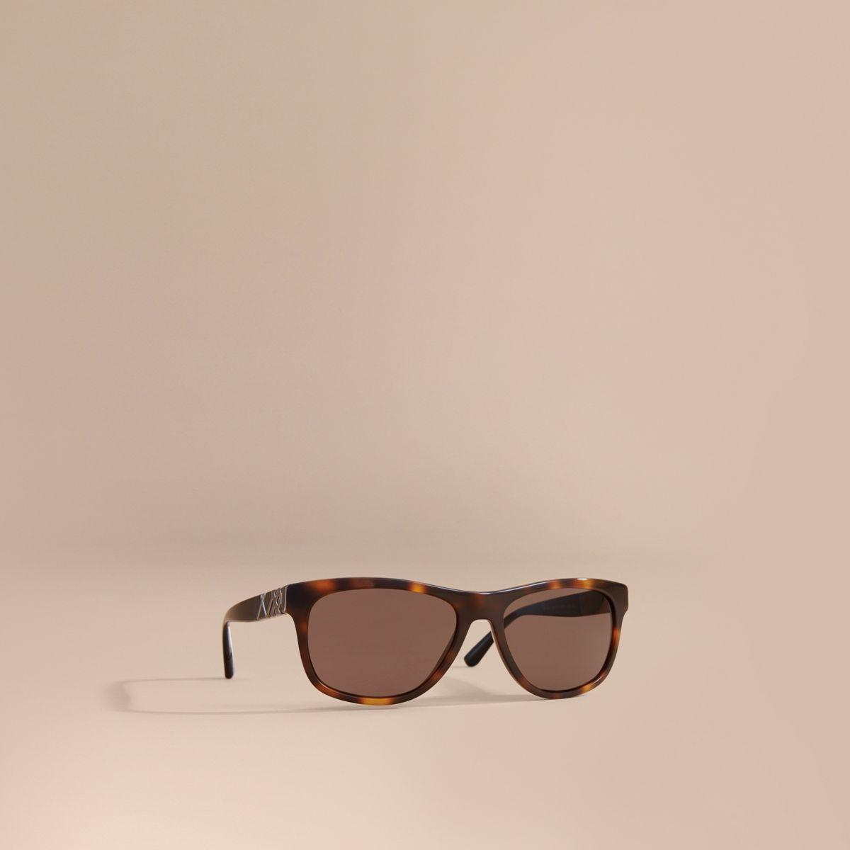 8b36bdc4dfa9 Burberry Check Detail Square Frame Sunglasses Tortoiseshell in Brown ...