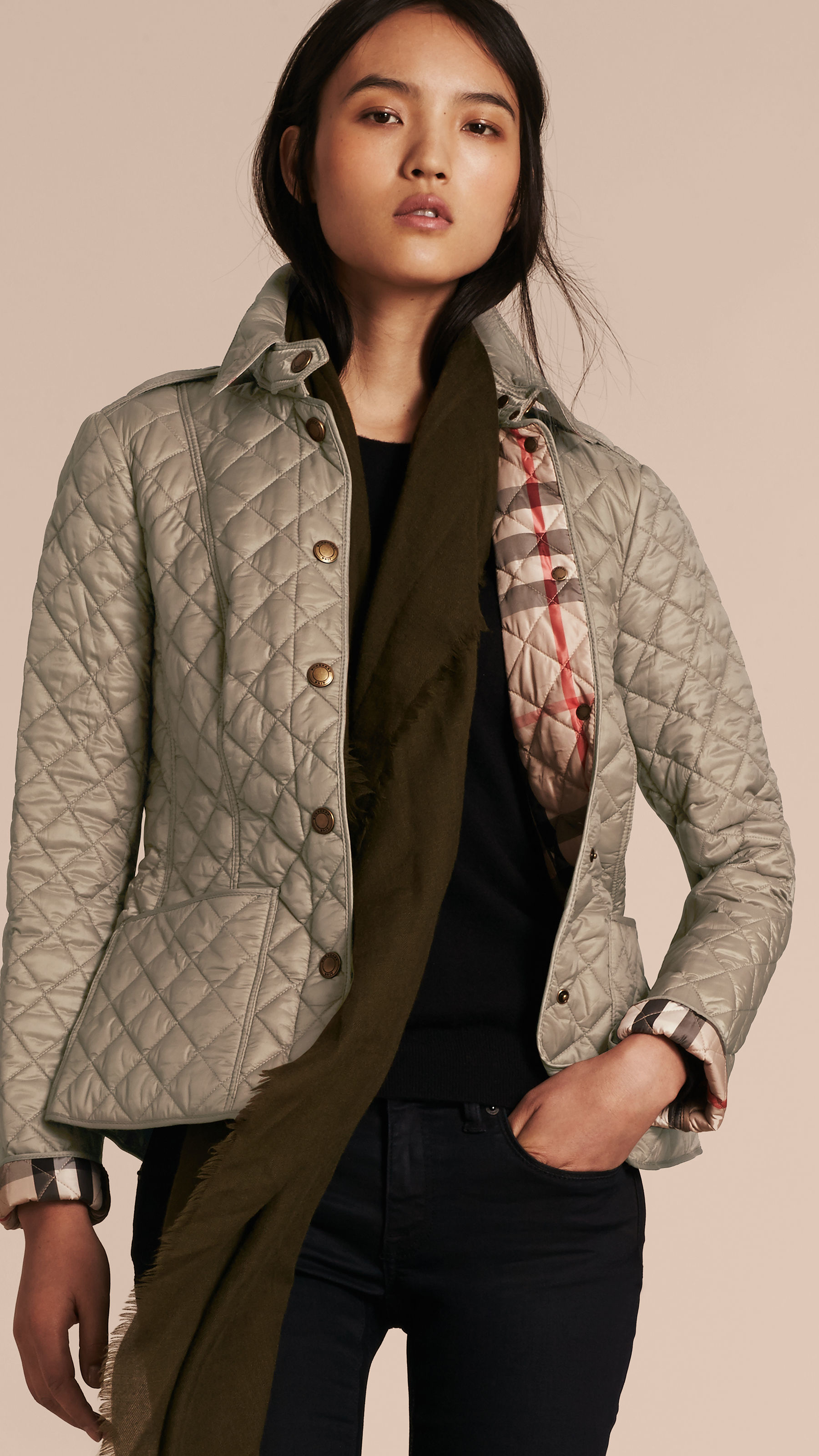 Burberry Kencott Diamond Quilted Shell Jacket In Brown Lyst
