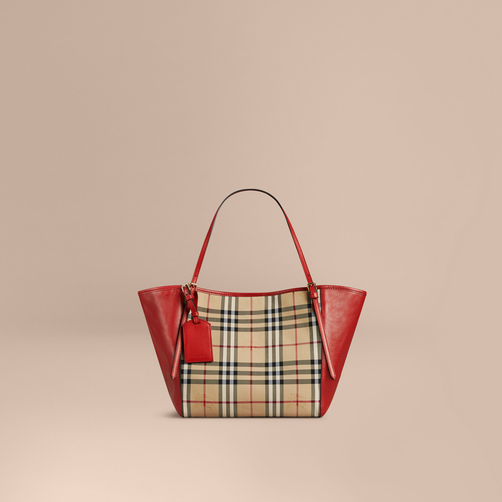 c86cc143f3c Burberry The Small Canter In Horseferry Check And Leather Honey ...