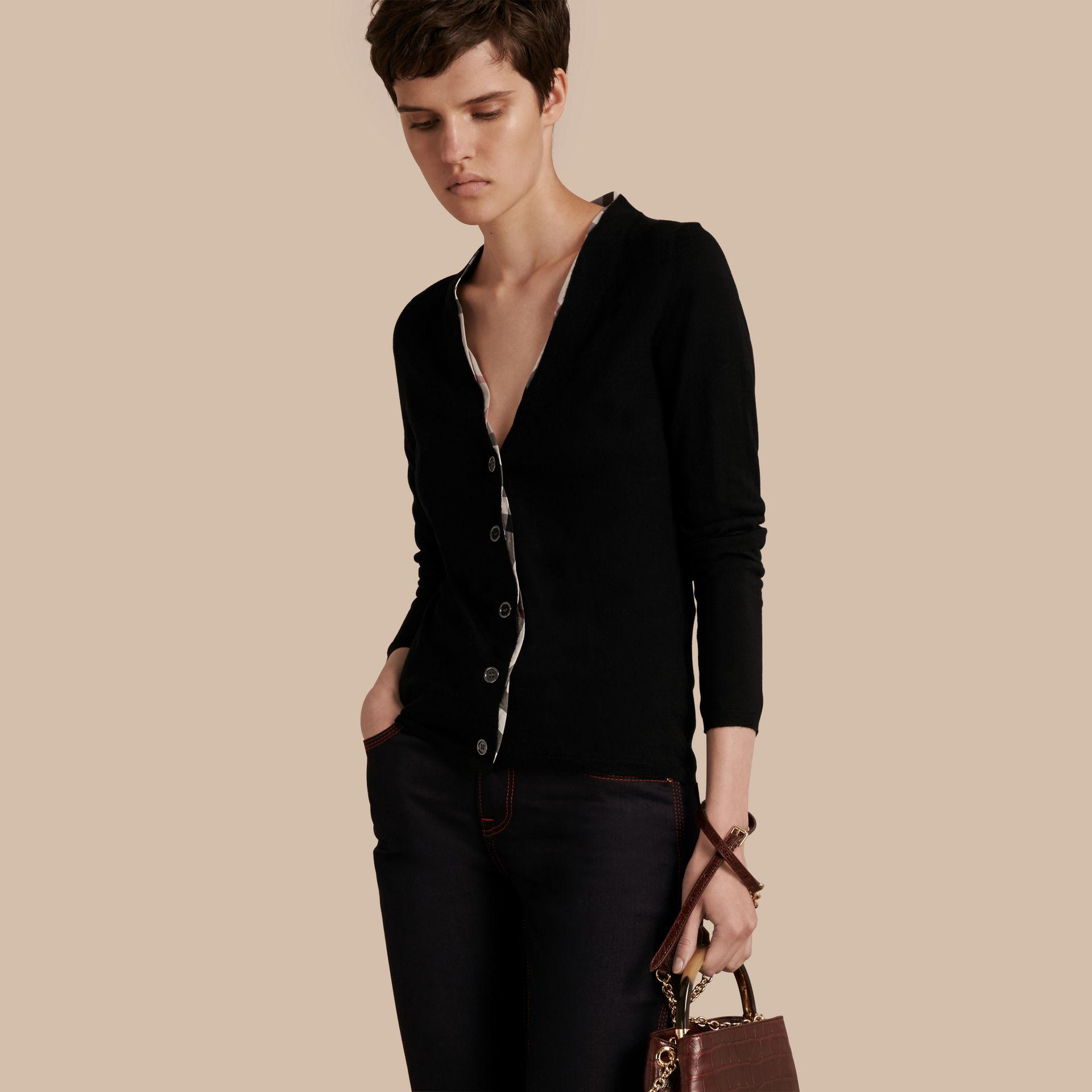 906996141352b Lyst - Burberry Check Placket Wool Cardigan in Black