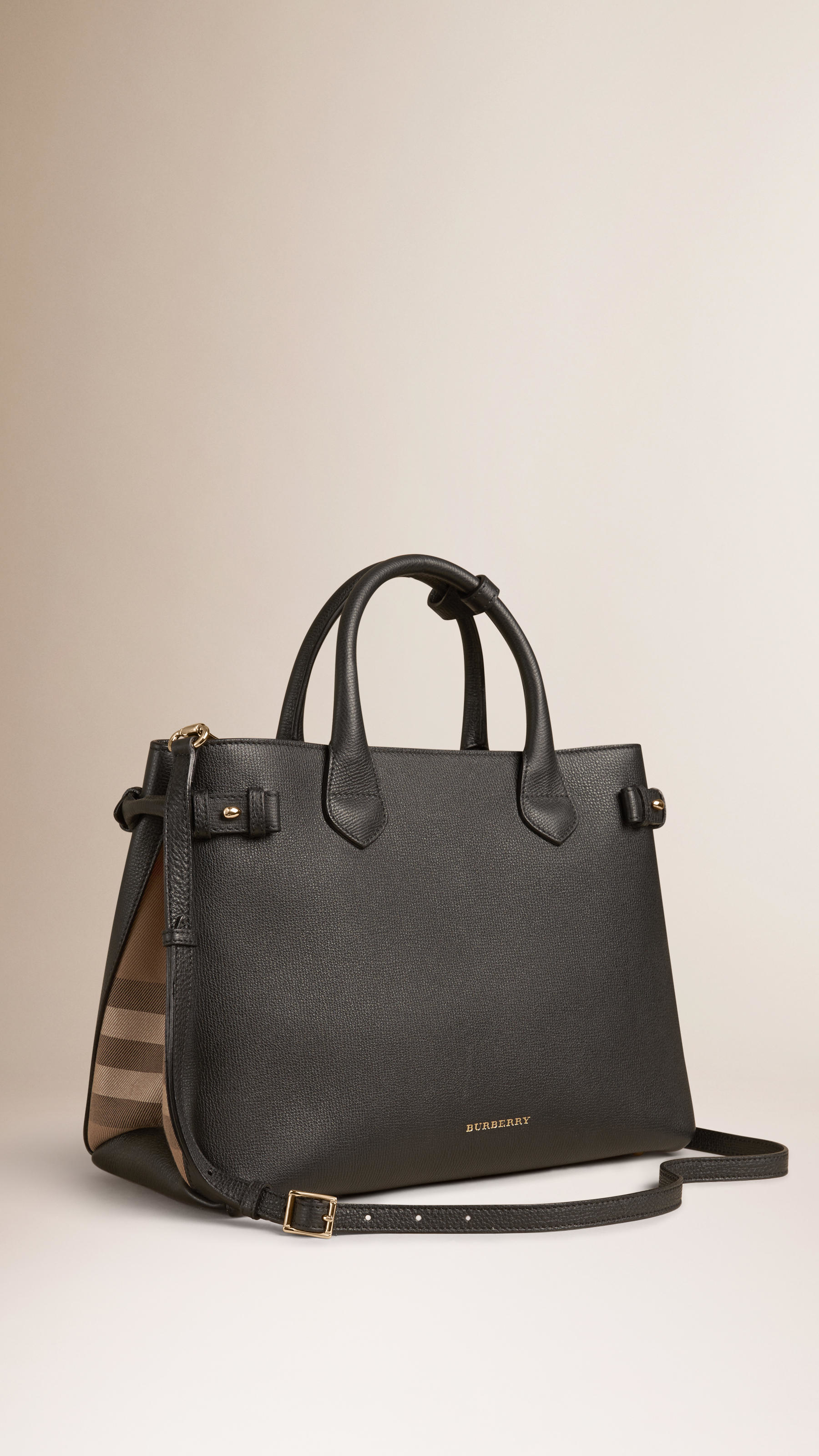 Lyst - Burberry The Medium Banner In Leather And House ...