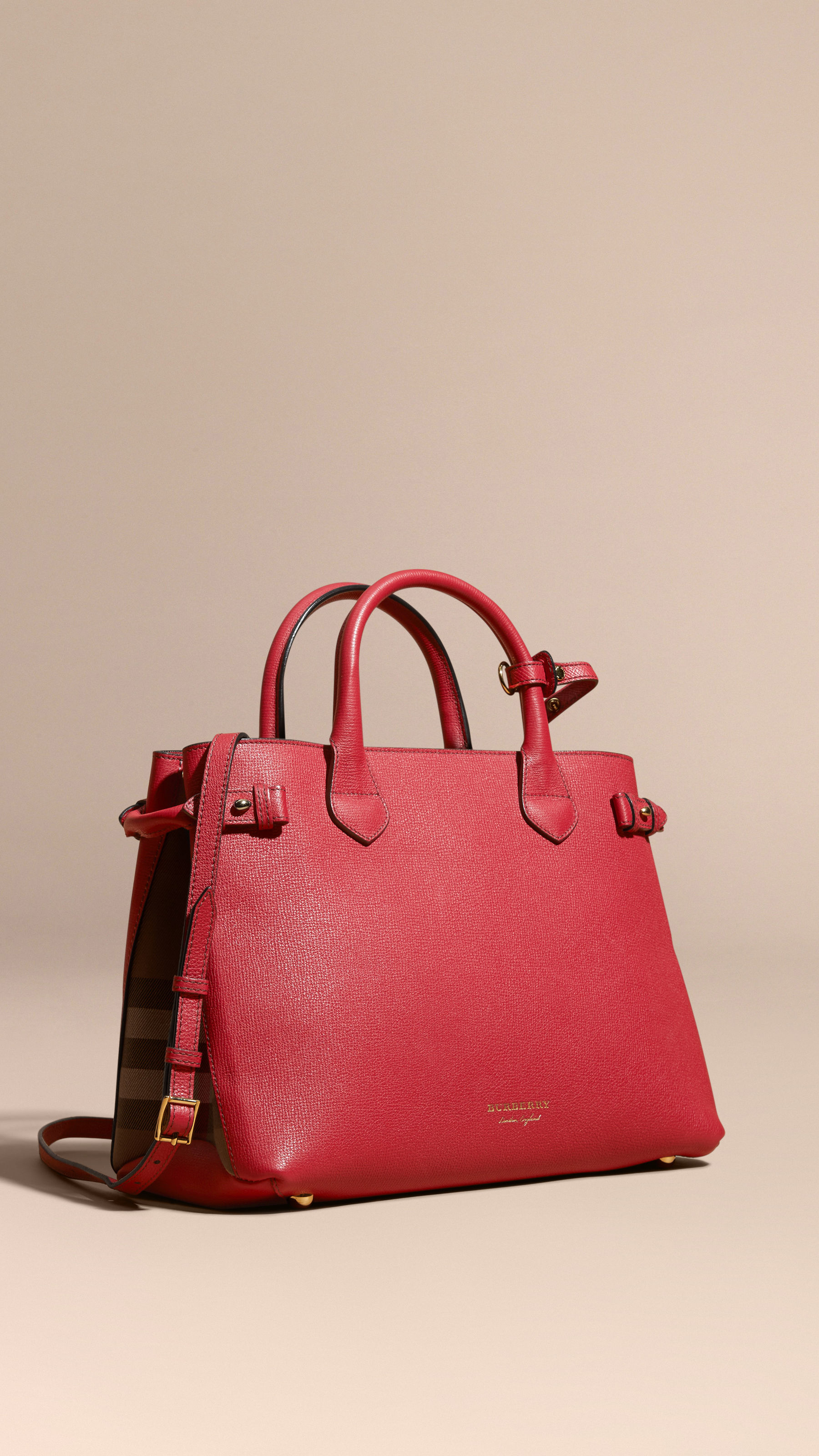 8daf2373ff8c Burberry The Medium Banner In Leather And House Check Russet Red in ...