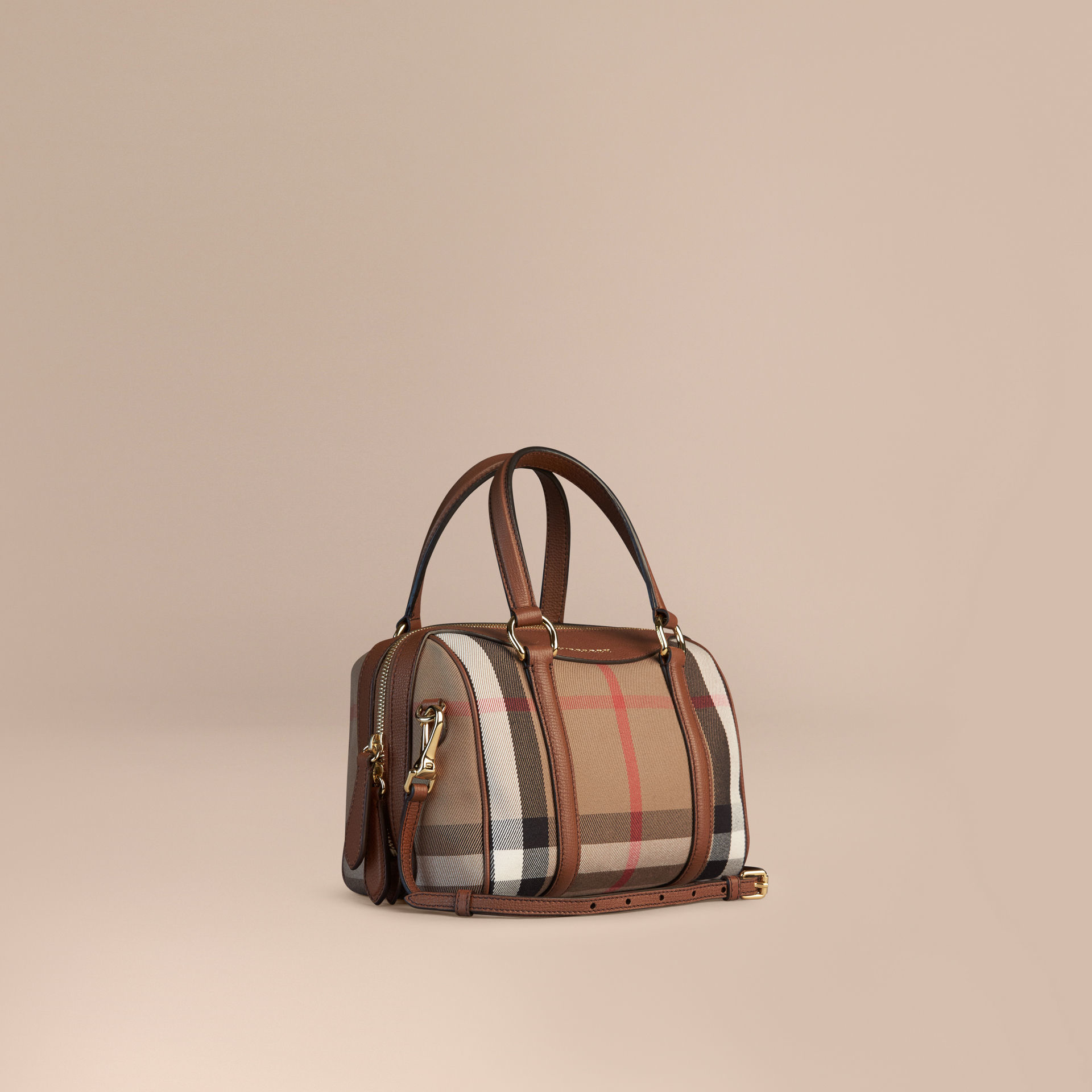 2b03cb7beef5 Lyst - Burberry The Small Alchester In House Check And Leather in Brown