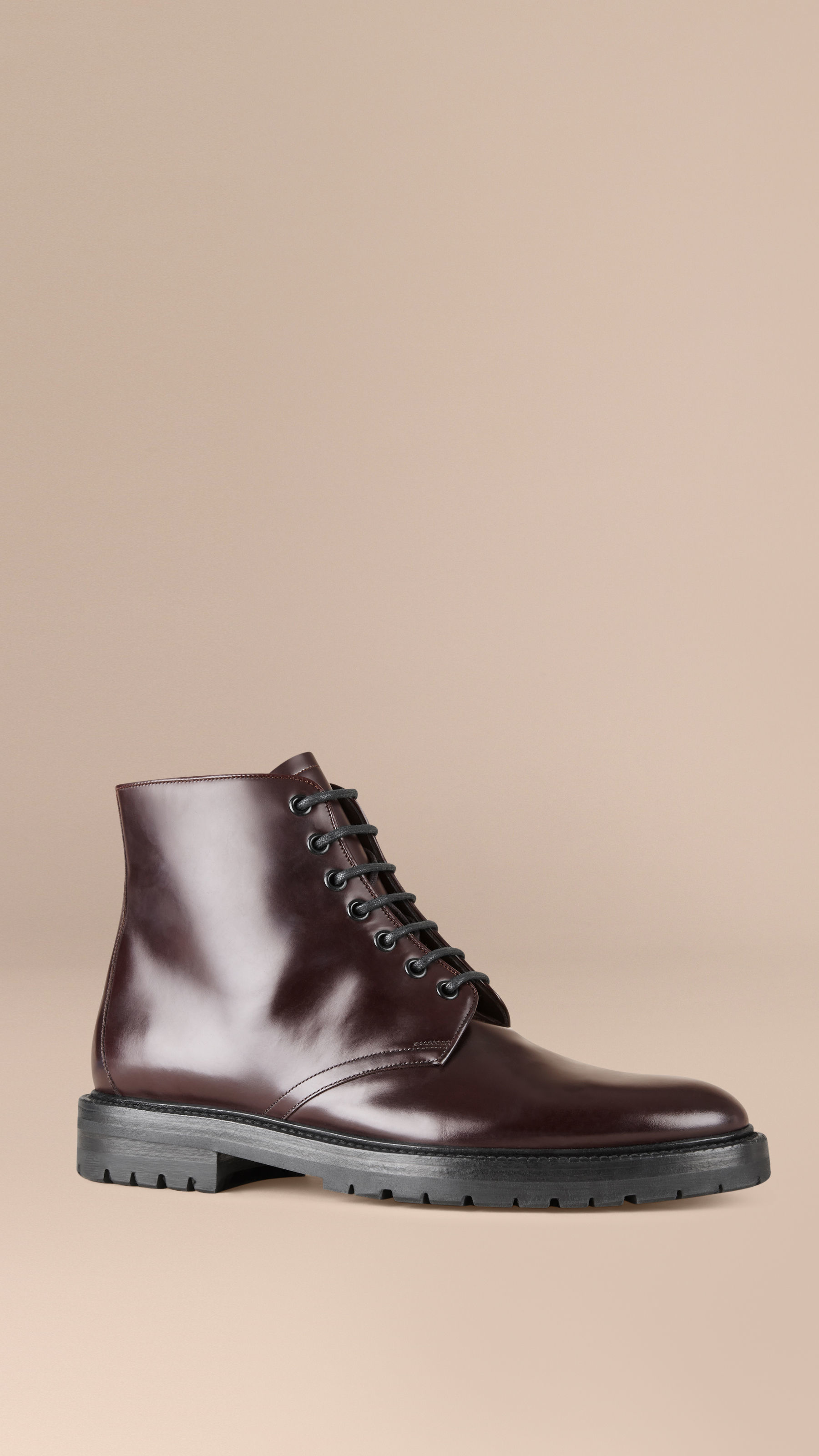 Burberry Lace Up Leather Ankle Boots In Purple For Men Lyst