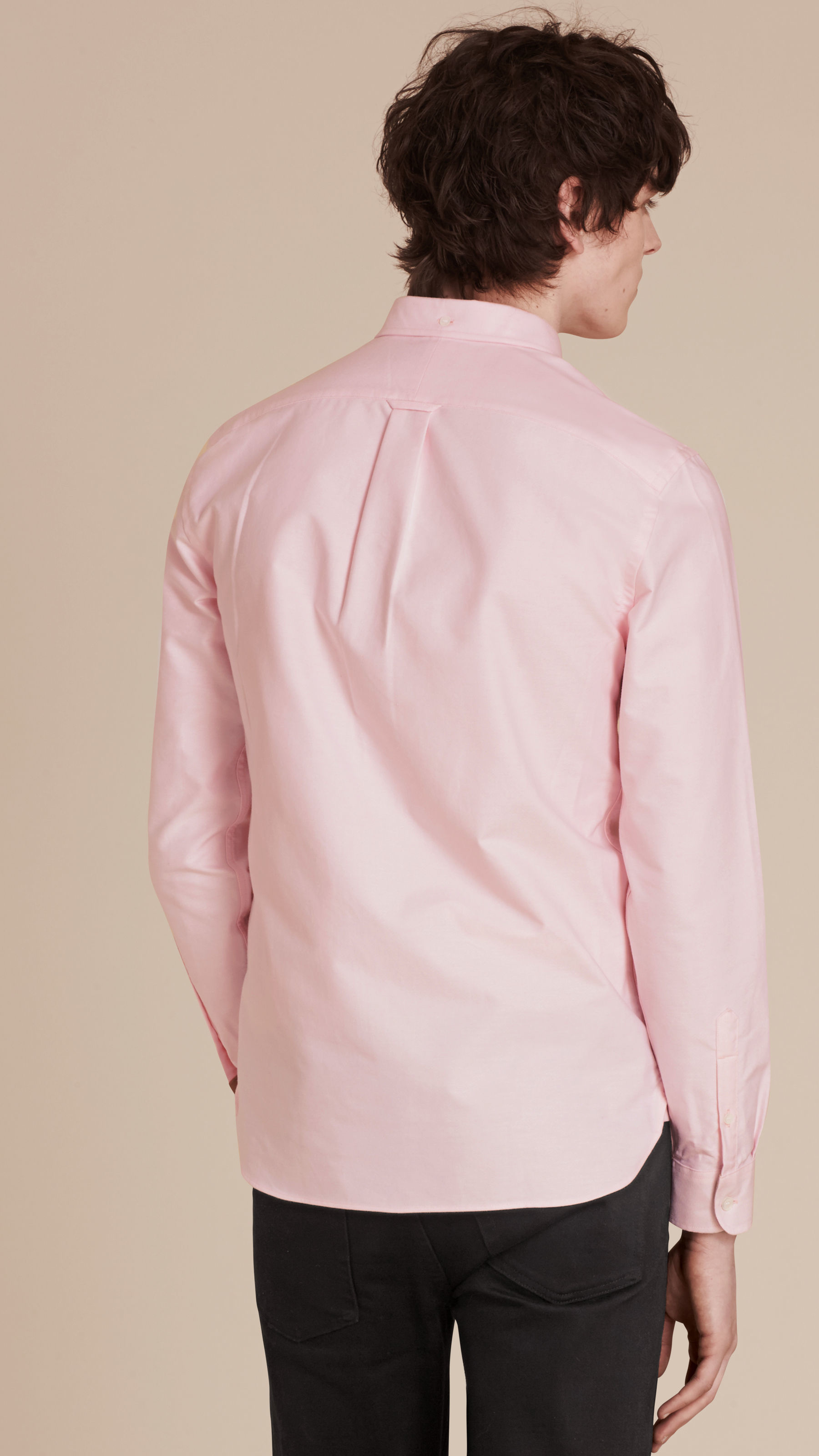 Burberry check detail cotton oxford shirt pale pink in for Pink oxford shirt men