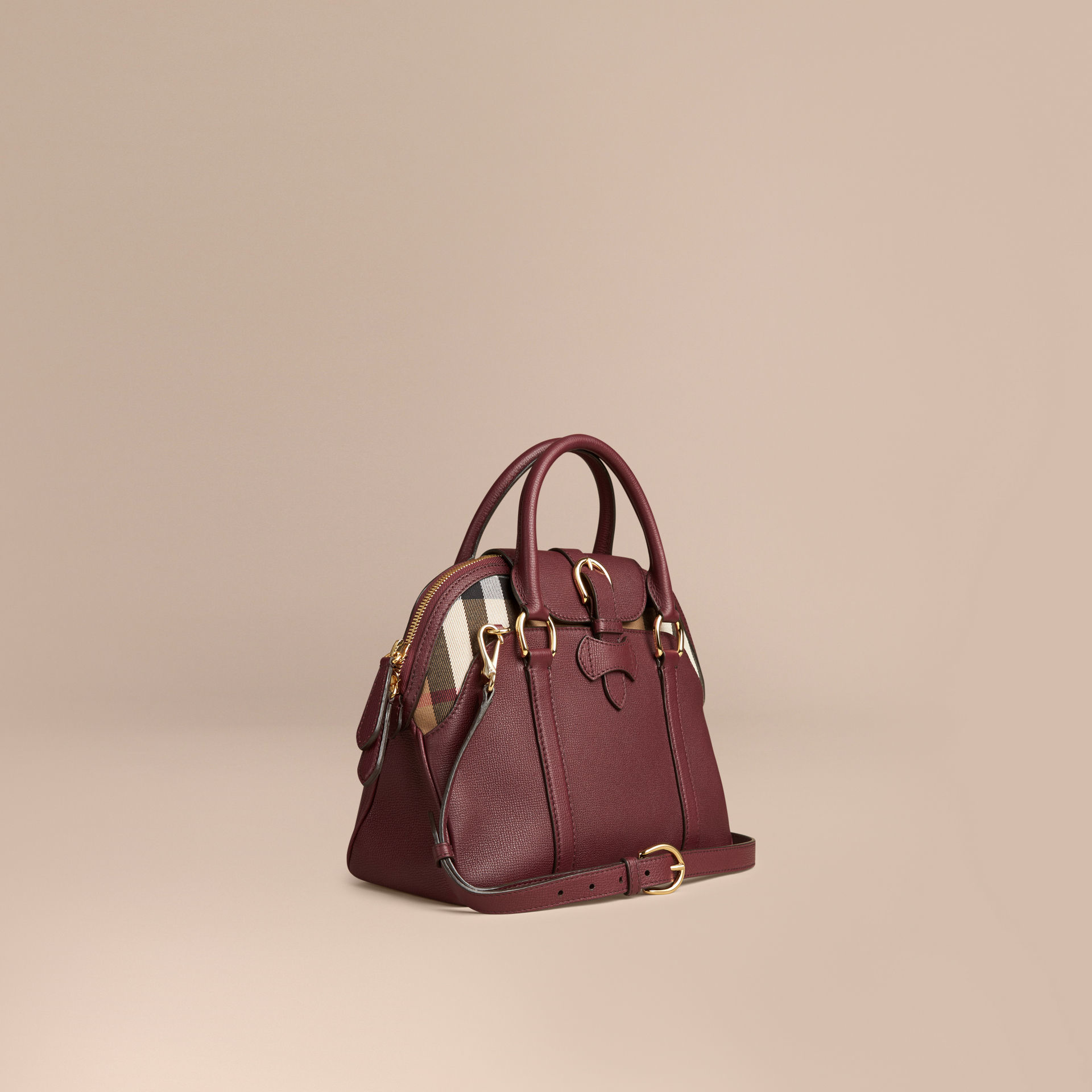 0869deee03db Lyst - Burberry Medium Leather And House Check Bowling Bag Mahogany ...