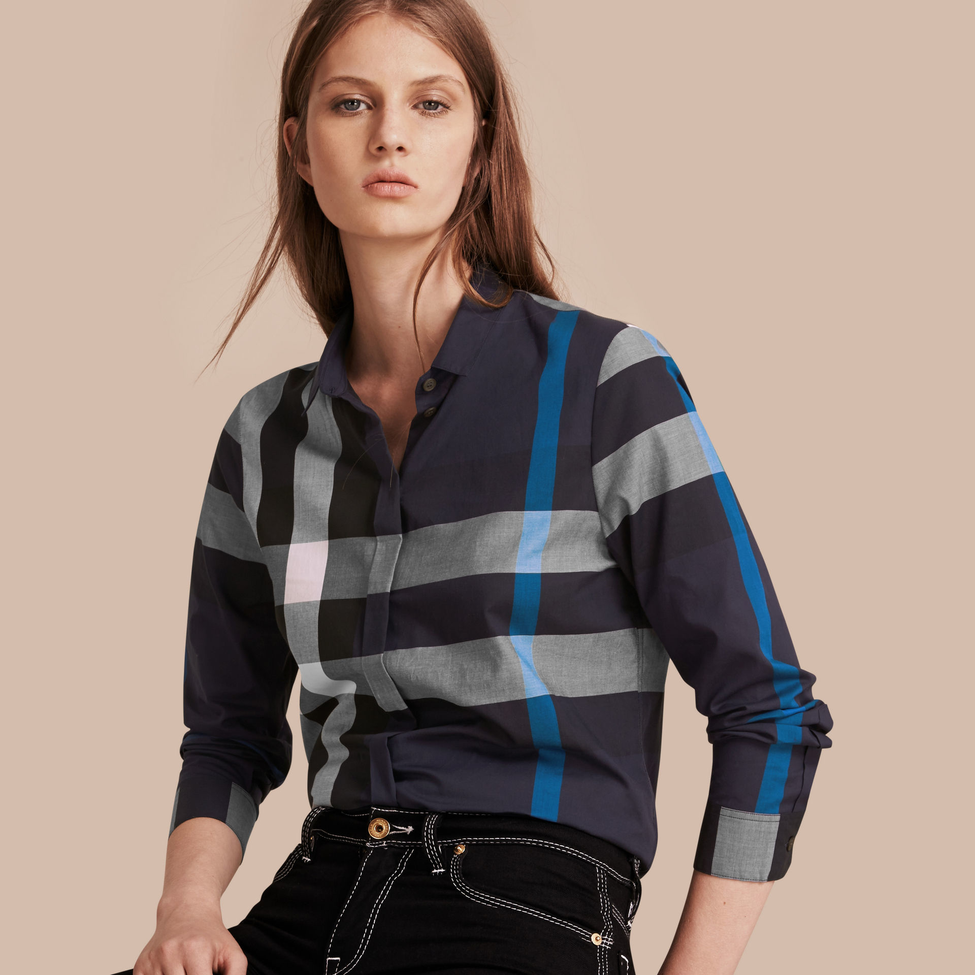 Lyst Burberry Check Grandad Collar Shirt In Navy In Blue