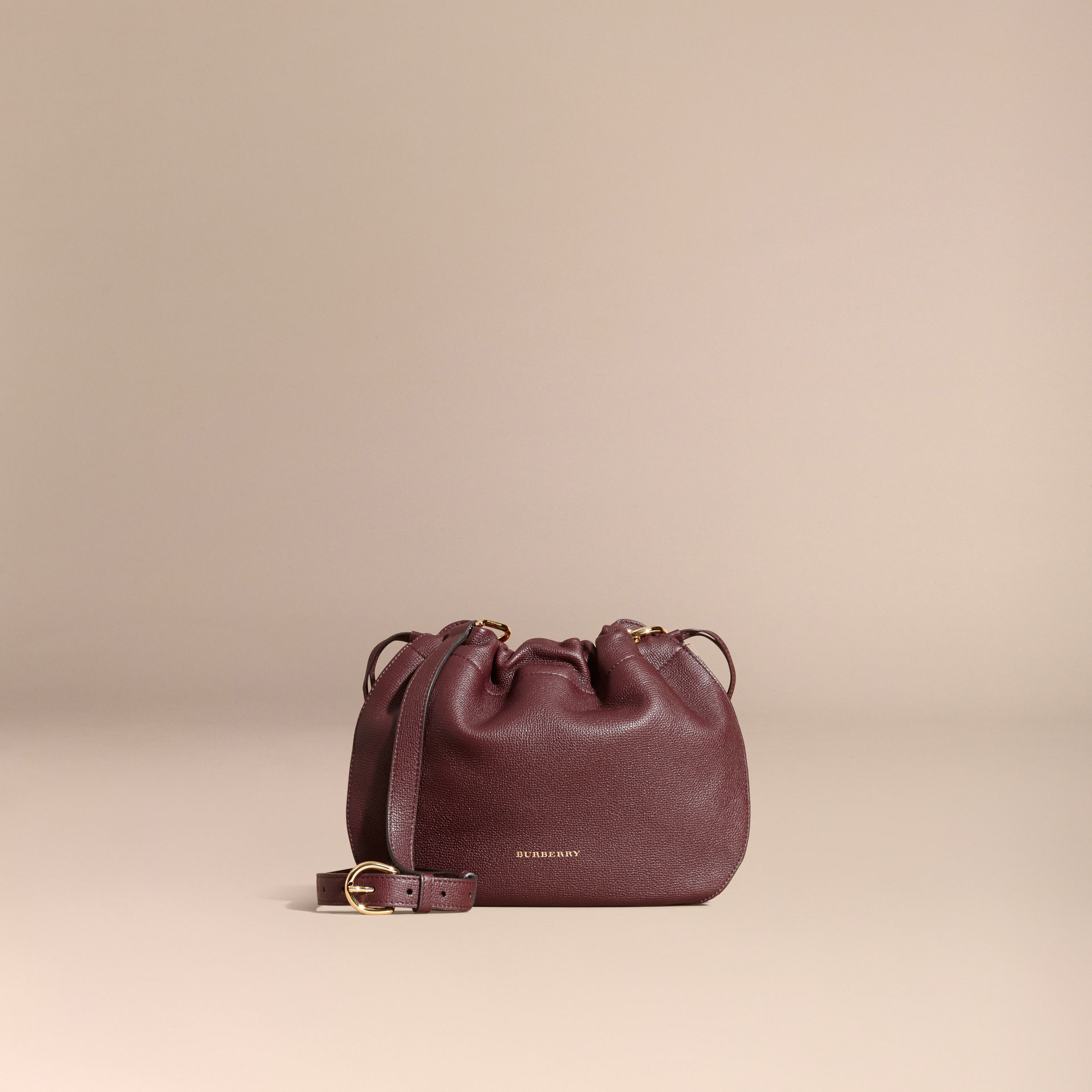 507a0b1855 Burberry Grainy Leather And House Check Crossbody Bag Mahogany Red ...