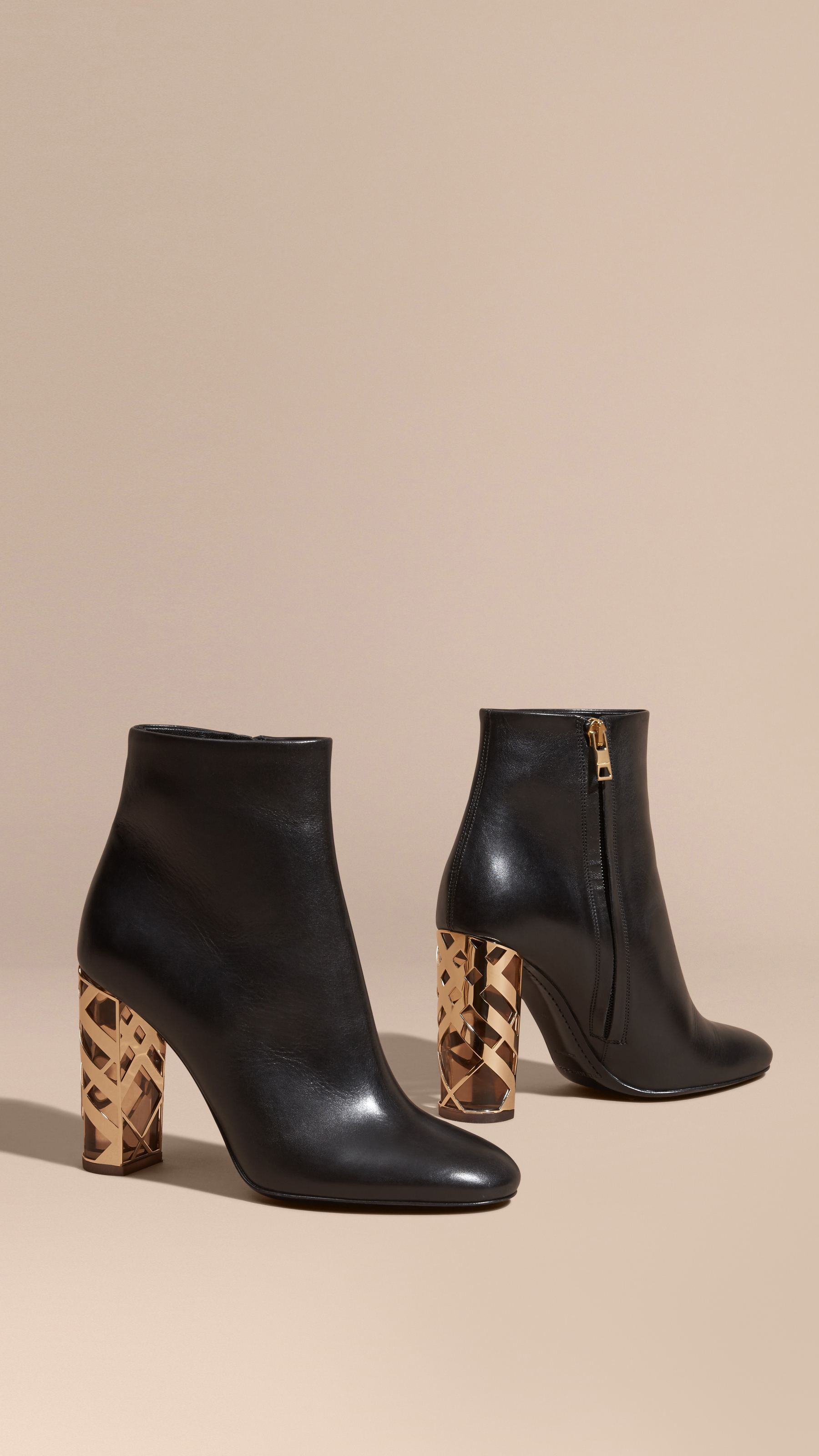 Burberry Check Heel Leather Ankle Boots In Black Lyst