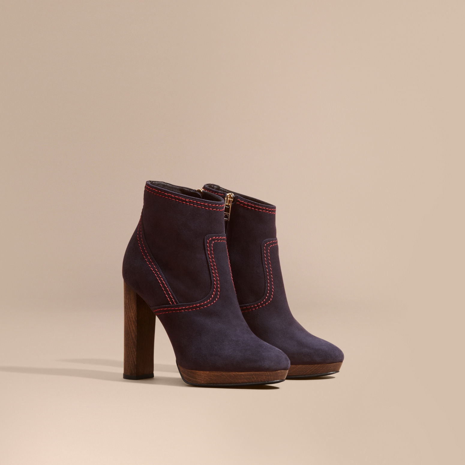 burberry suede ankle boots navy in blue navy lyst