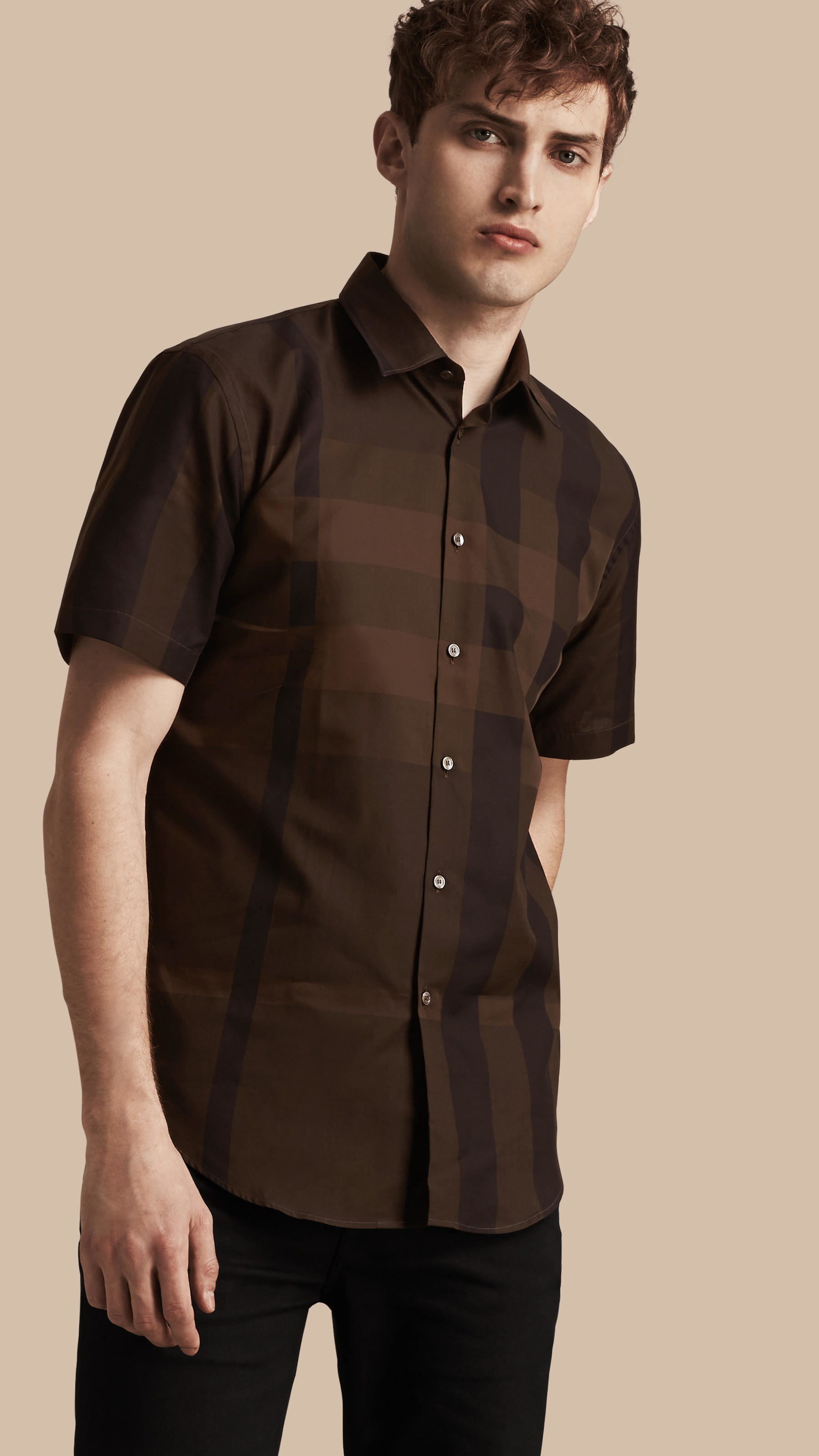 Burberry short sleeved check cotton shirt chocolate in for Mens chocolate brown shirt