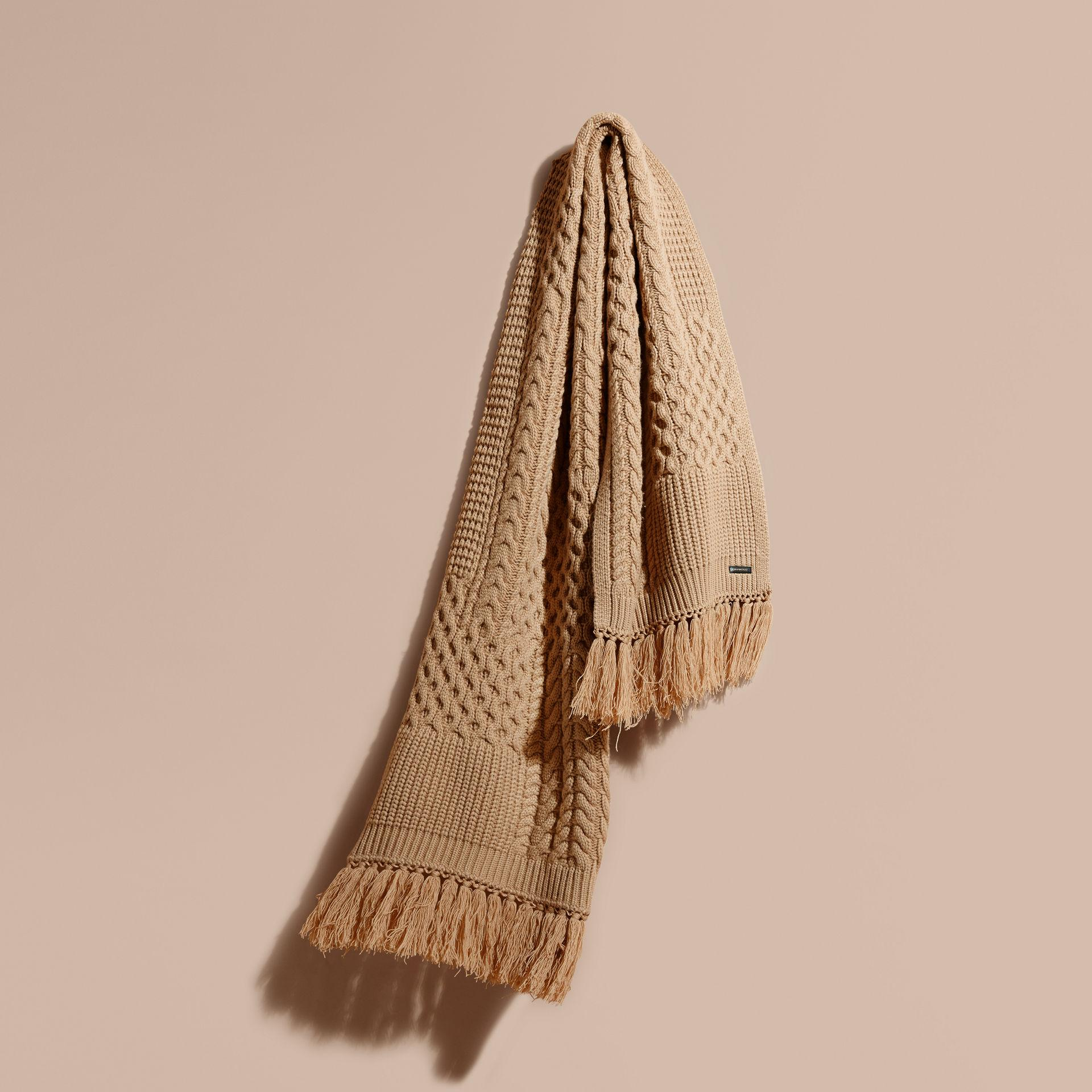 Knitting Pattern Burberry Scarf : Burberry Oversize Aran Knit Wool Cashmere Scarf Camel for Men Lyst