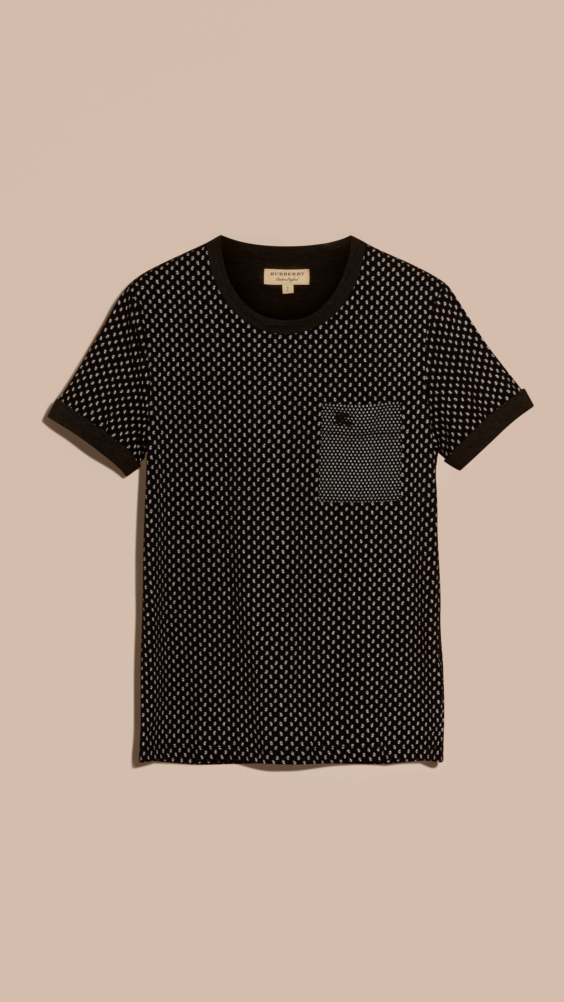 Burberry Paisley Cotton T Shirt Black In Black For Men Lyst