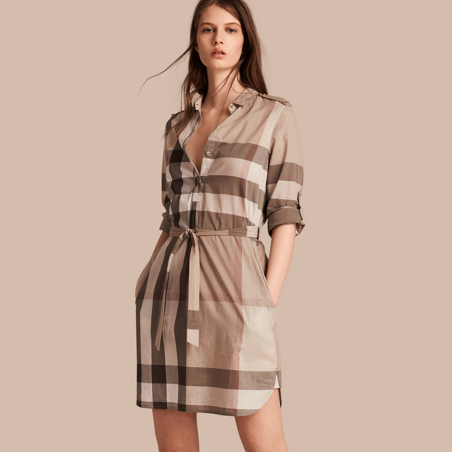 Burberry Check Cotton Shirt Dress Pale Stone In Blue Pale