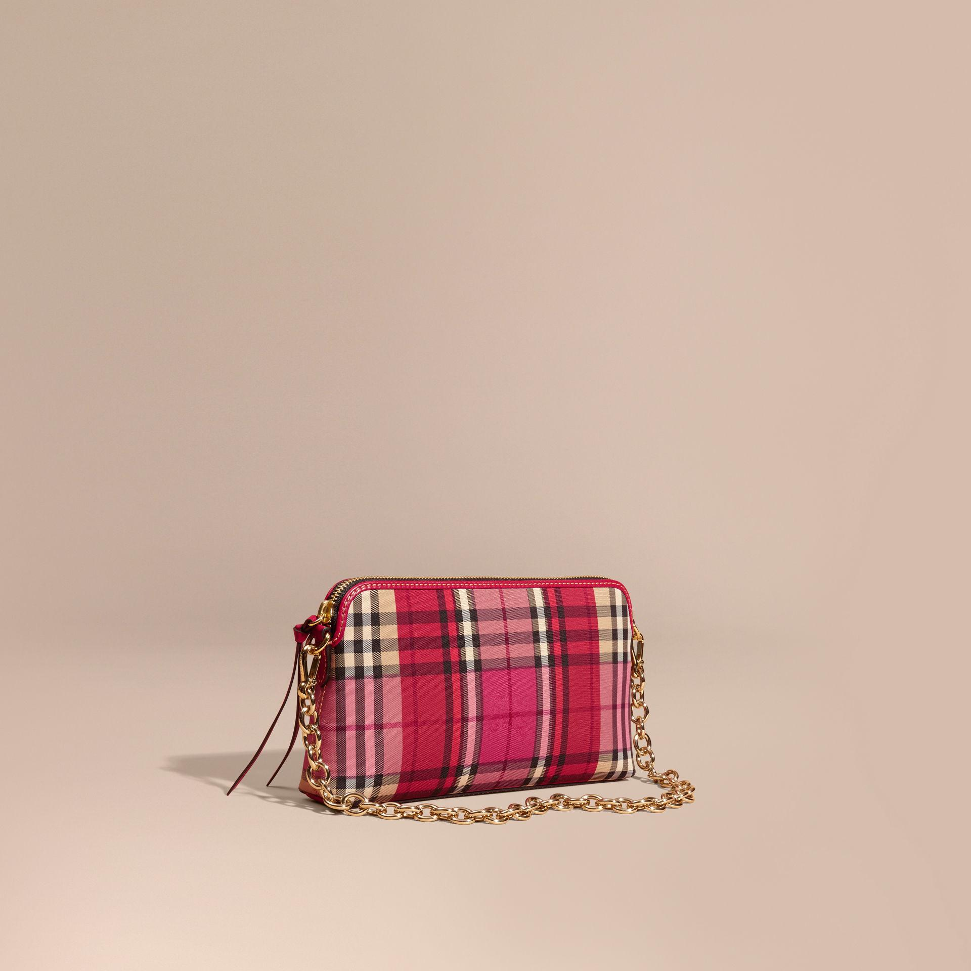 a129967da53 Lyst - Burberry Overdyed Horseferry Check And Leather Clutch Bag