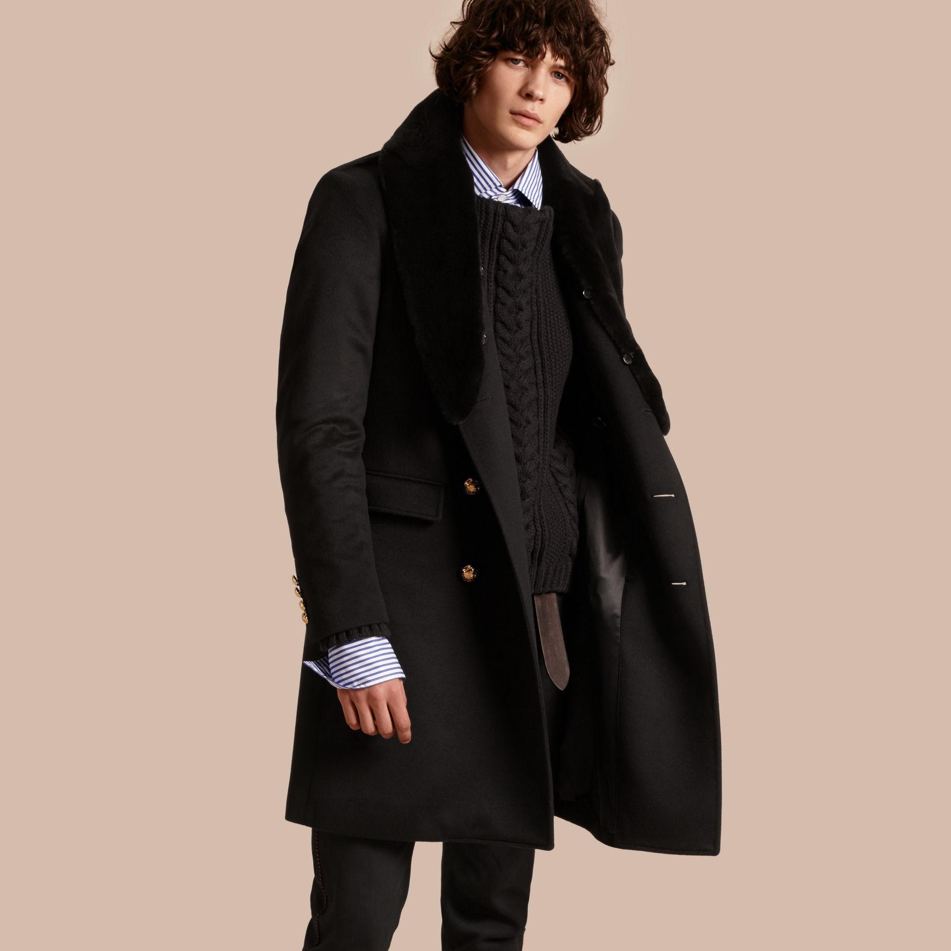 Burberry Regimental Cashmere Coat With Detachable Mink ...