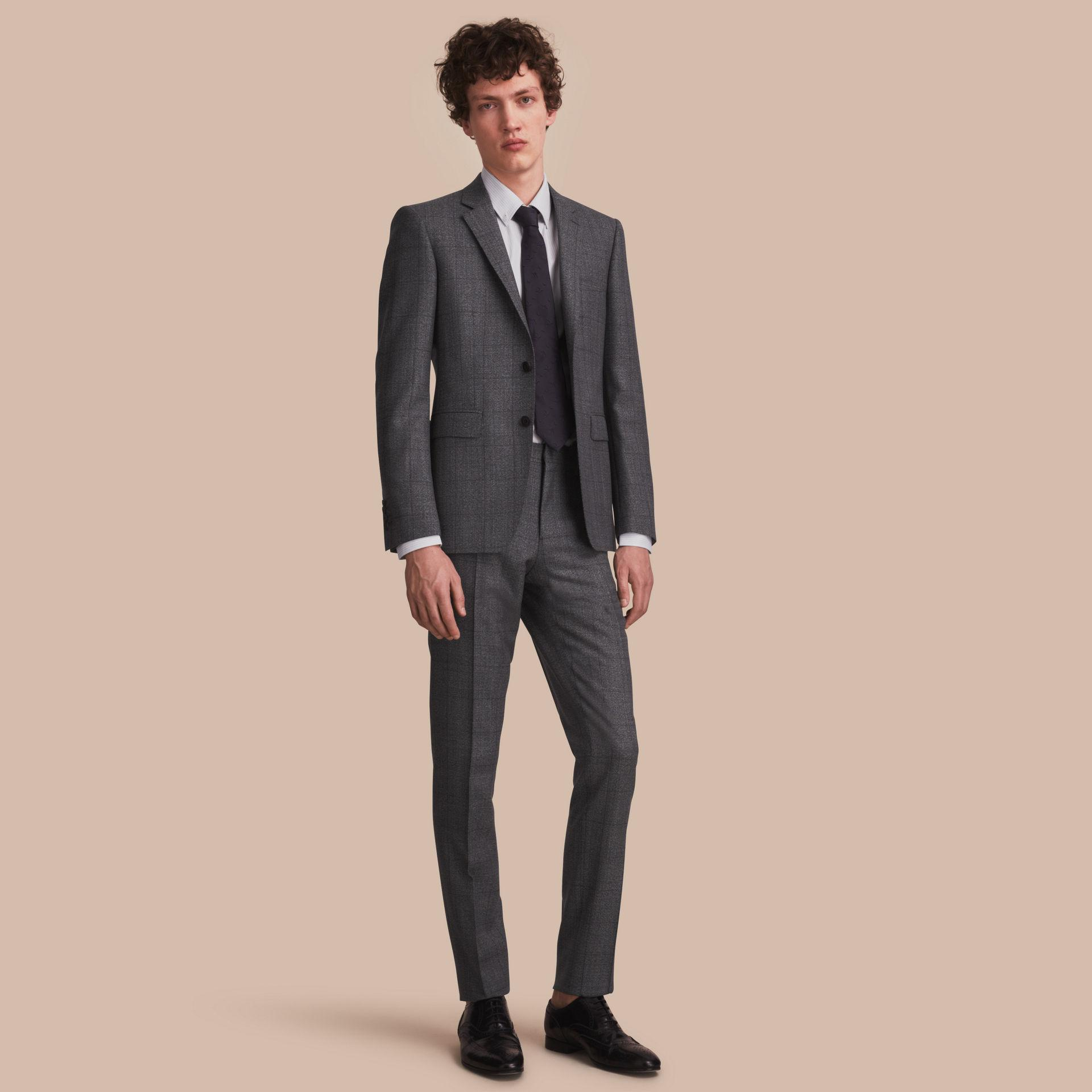 burberry slim fit check half canvas wool suit in gray for. Black Bedroom Furniture Sets. Home Design Ideas