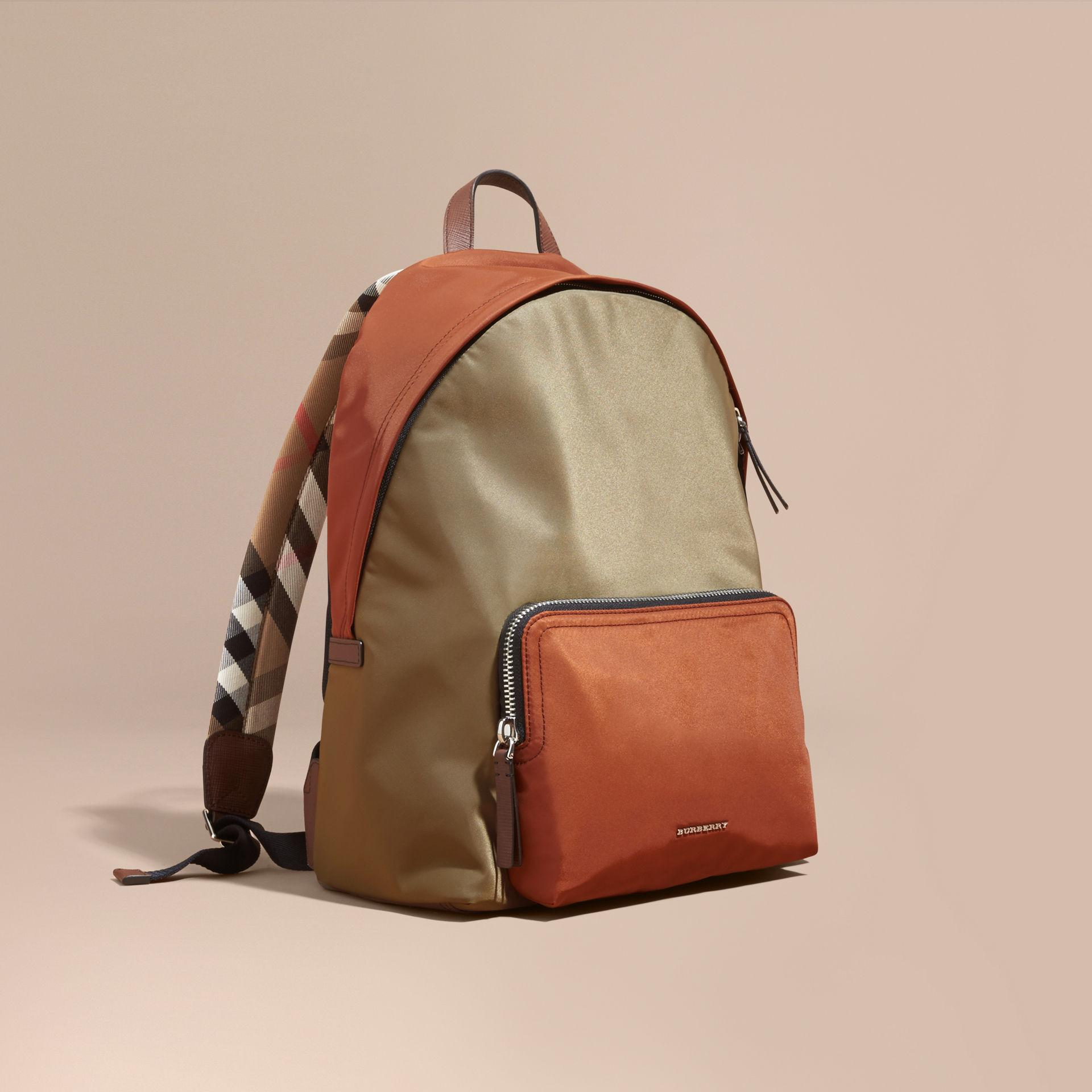 d7349a68bcfd Lyst - Burberry Leather And House Check Trim Technical Backpack Deep ...
