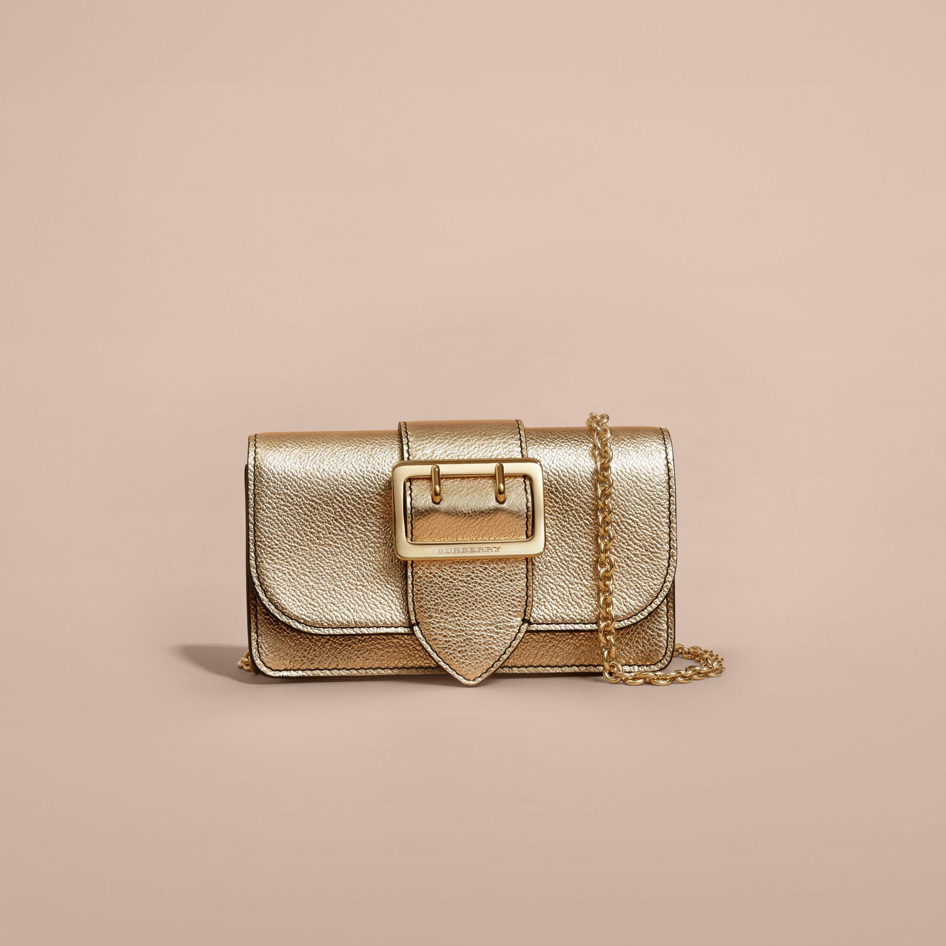 2cff251d3e9 Burberry The Mini Buckle Bag In Metallic Grainy Leather Gold in ...