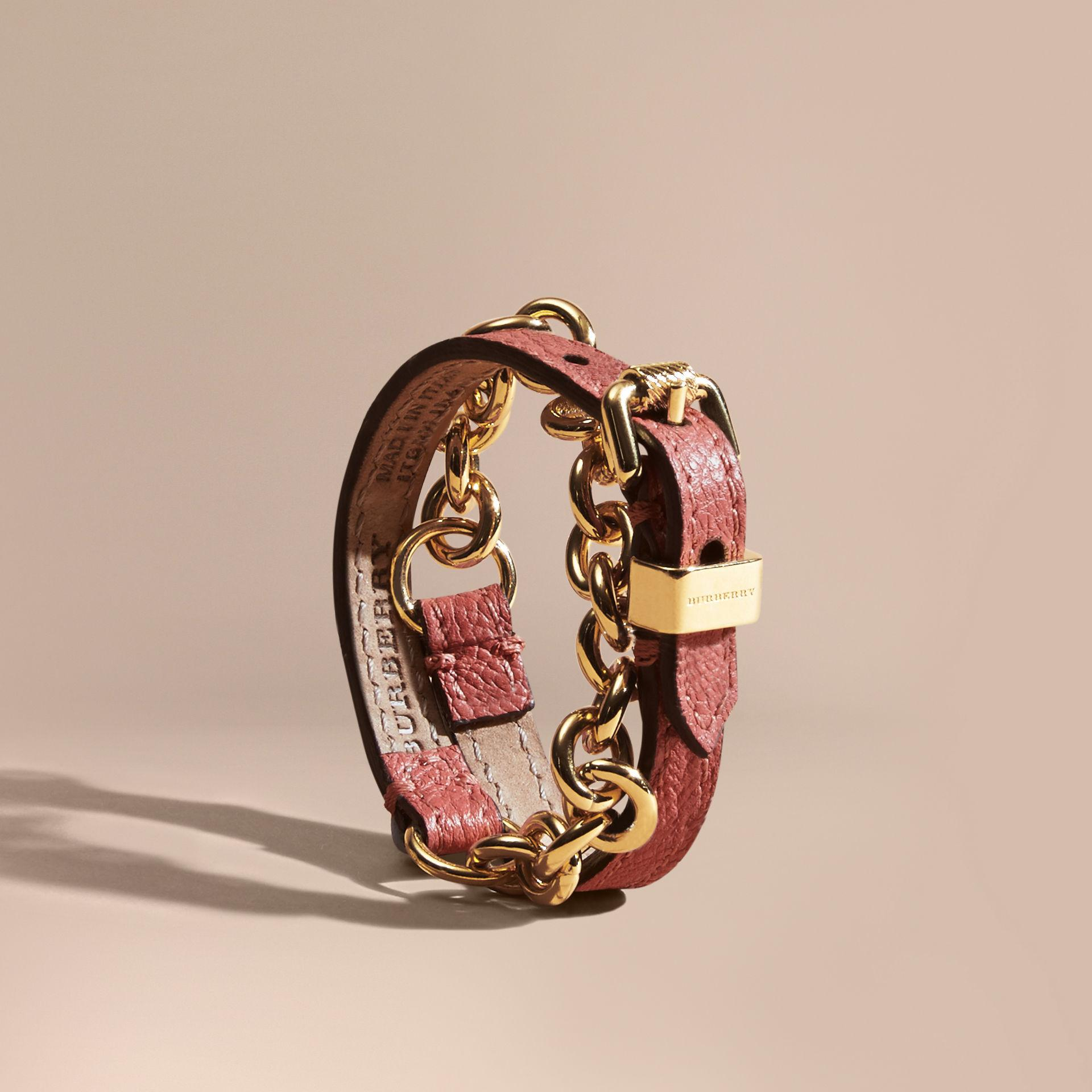 burberry wrap grainy leather and chain bracelet in