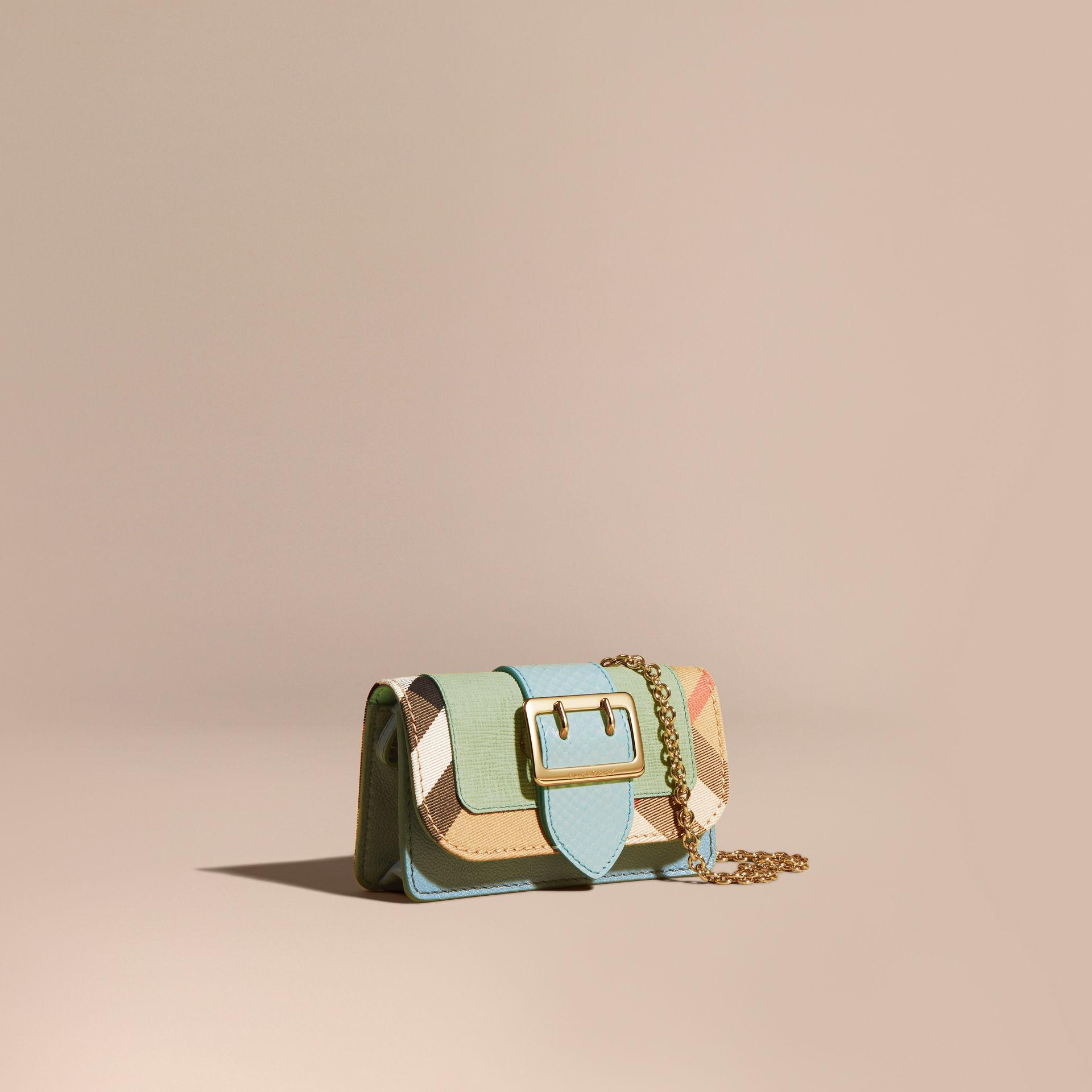 Burberry The Mini Buckle Bag In Snakeskin And House Check - Lyst 01152071f8