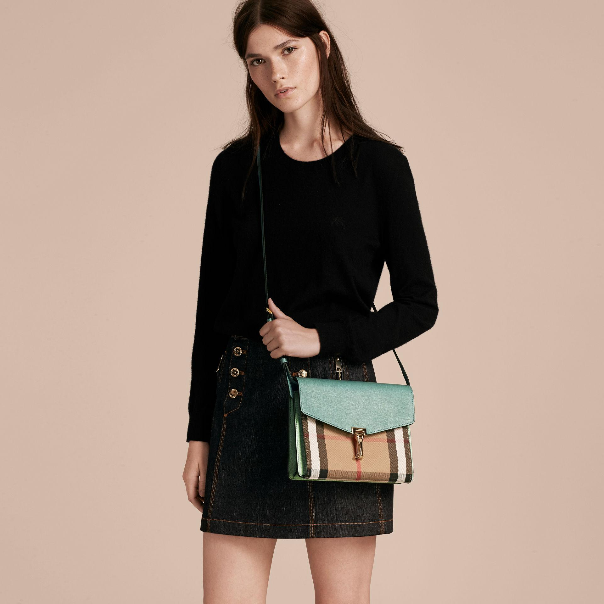 Lyst - Burberry Small Leather And House Check Crossbody Bag Celadon Blue in  Blue 435ddb1e0c74d