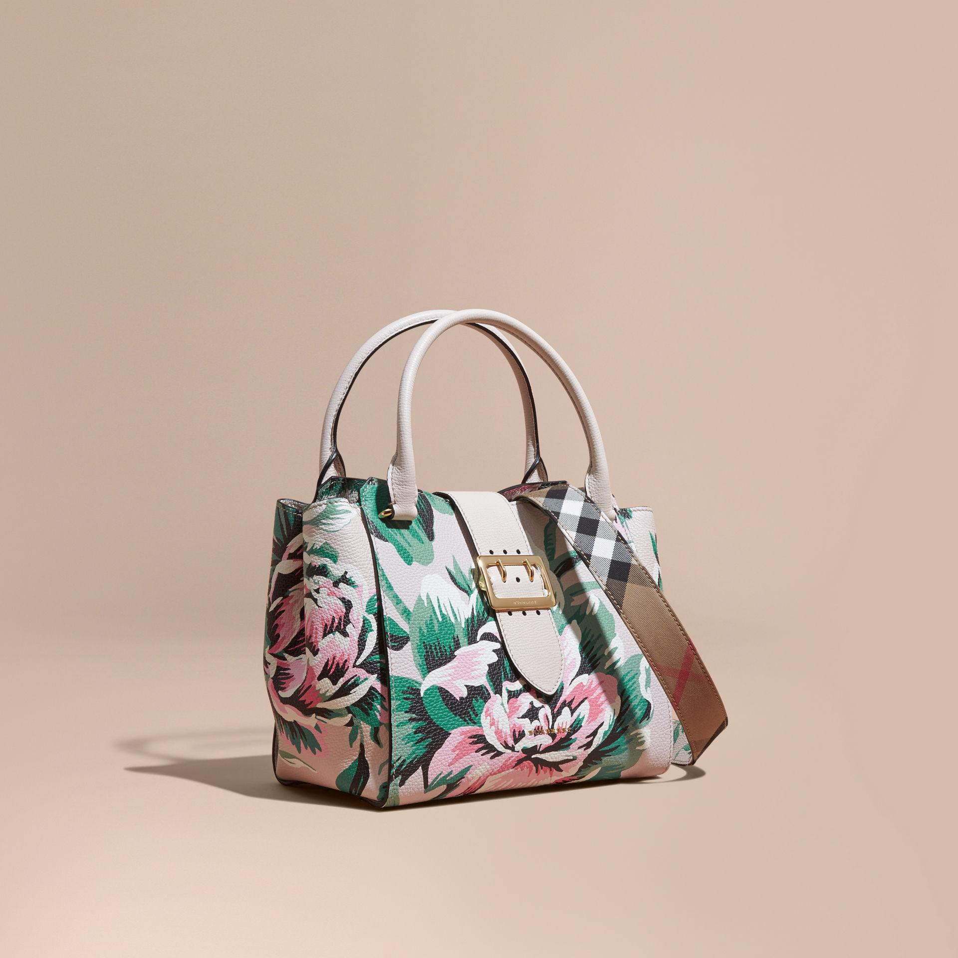 0babb56a5526 Burberry The Medium Buckle Tote In Peony Rose Print Leather Natural ...