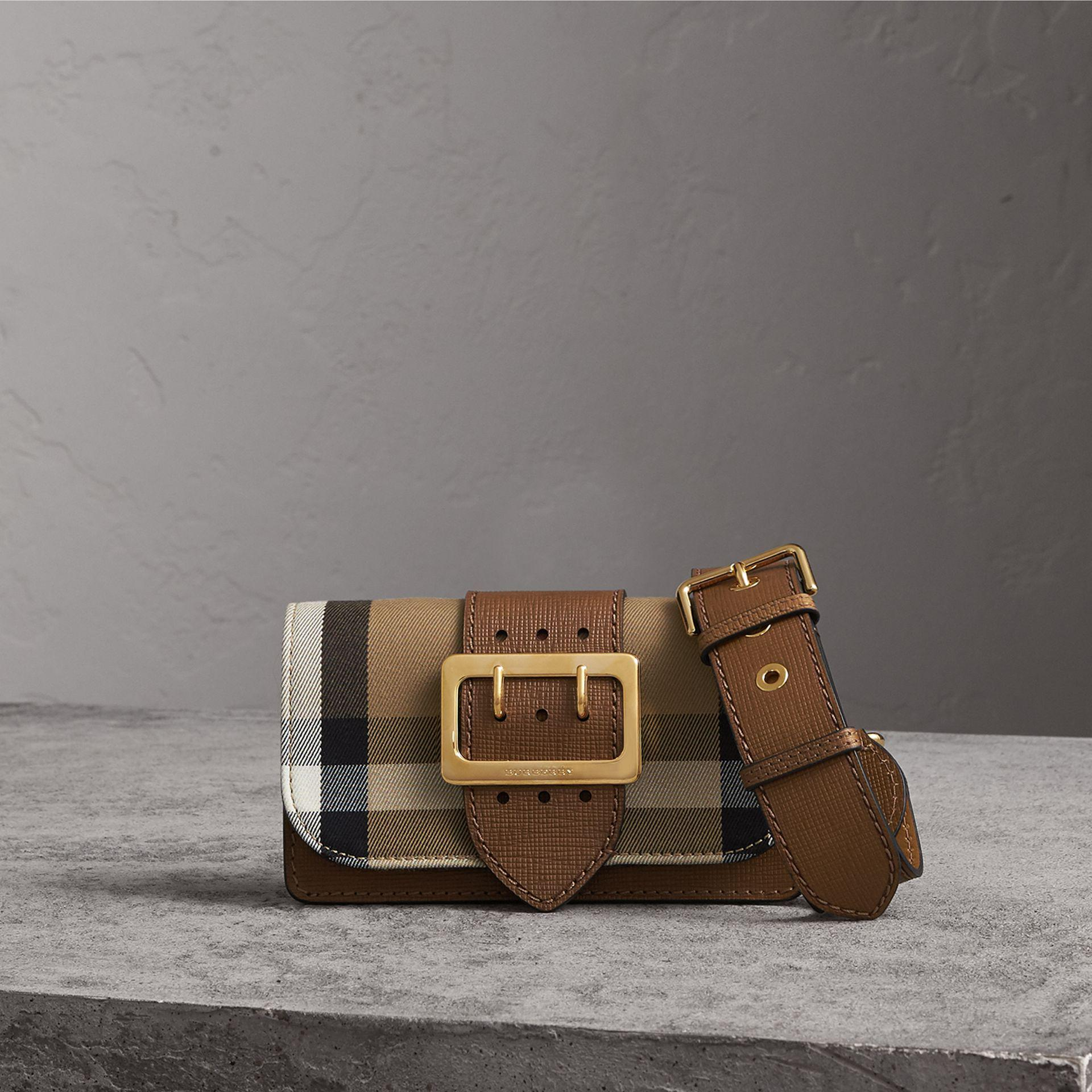 Burberry Small Buckle House Check And Leather Shoulder Bag in Brown ... 891501a93a