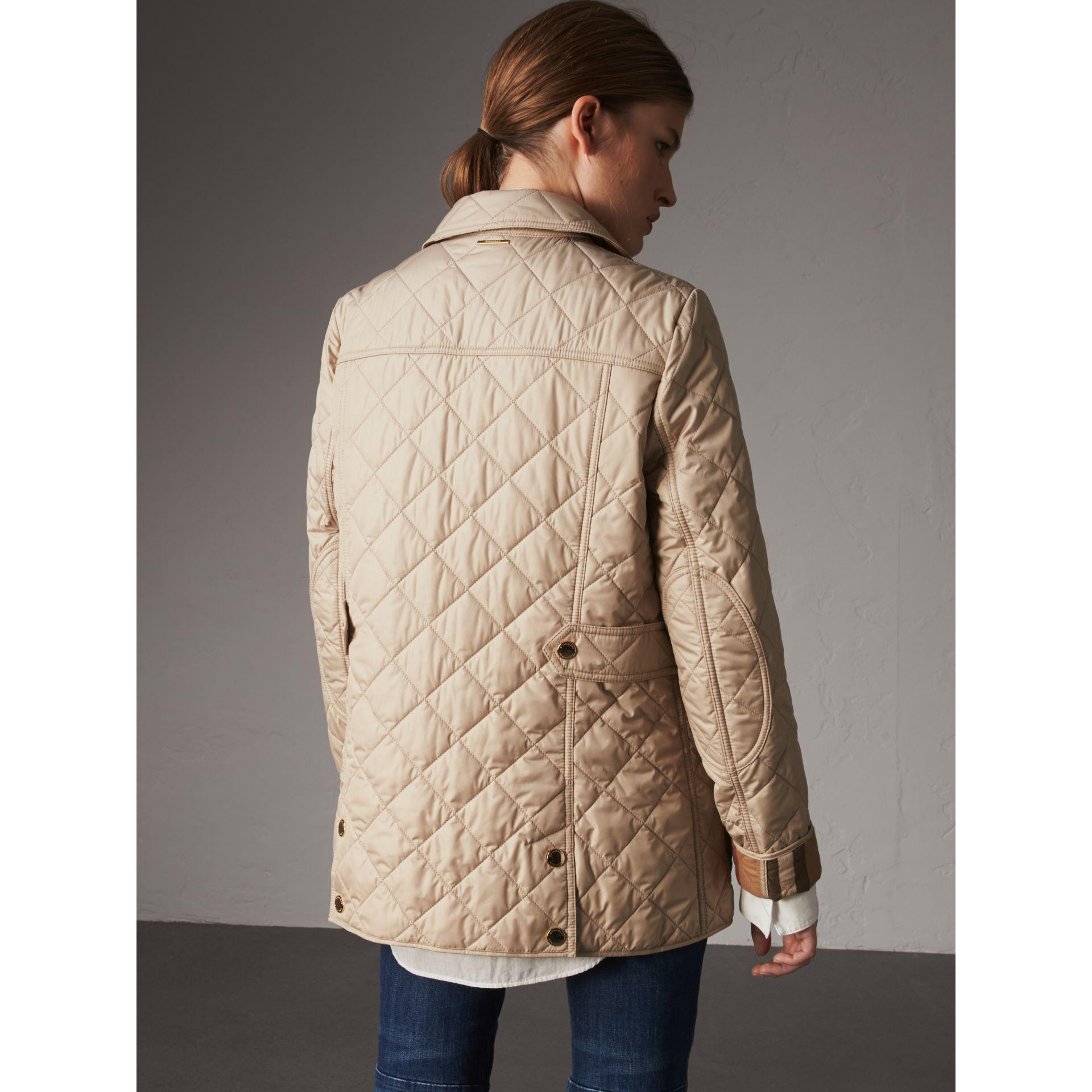 Lyst Burberry Check Detail Diamond Quilted Jacket Dark