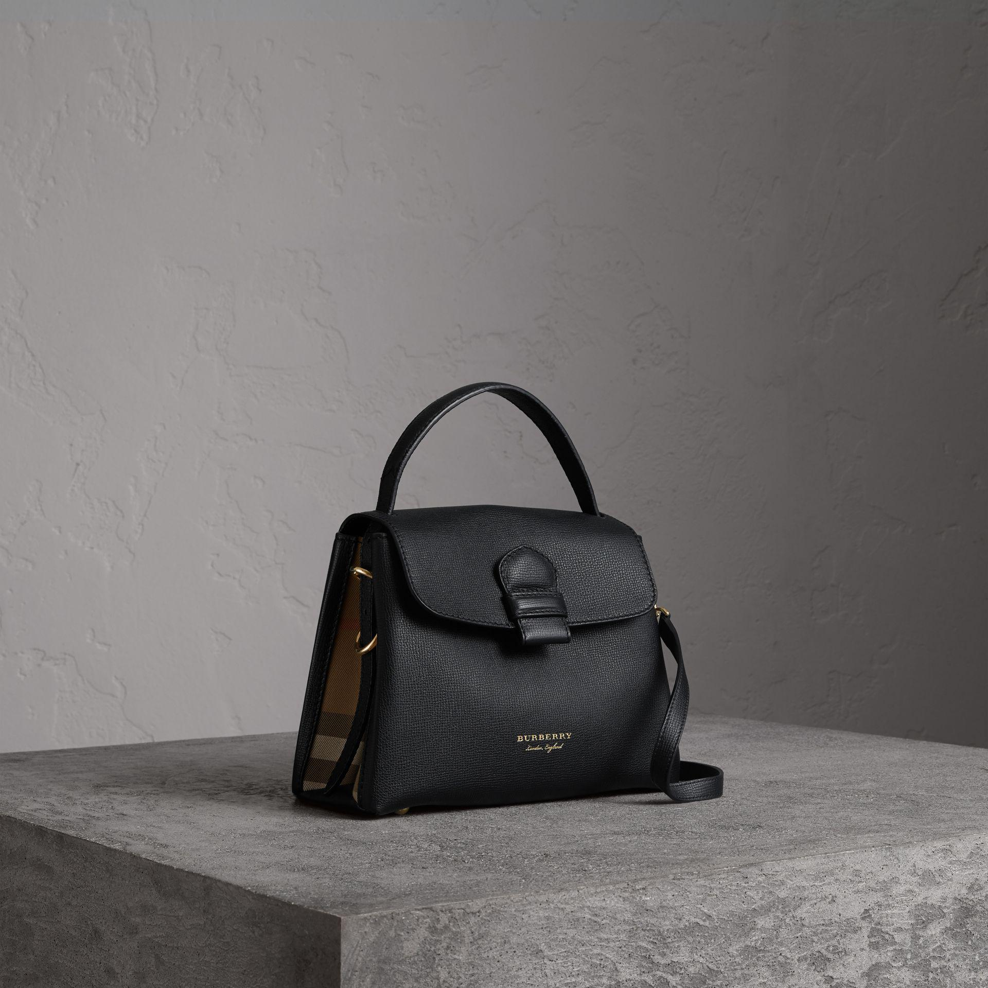 55e35e980430 Burberry Small Grainy Leather And House Check Tote Bag In Black ...