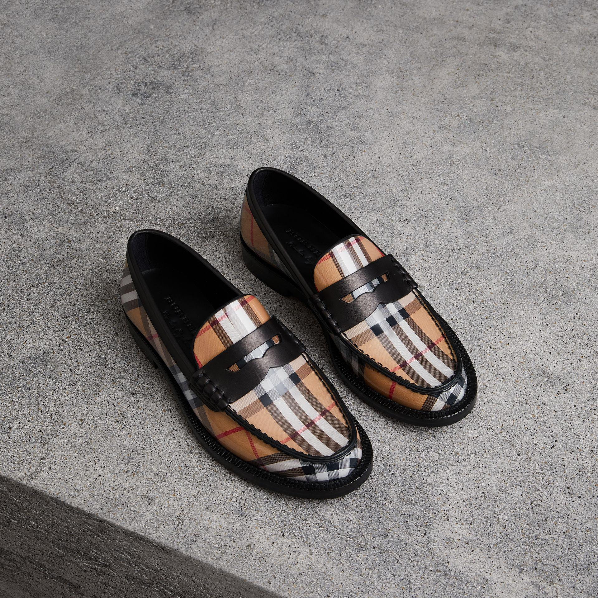 9ba248ee966 Burberry Vintage Check And Leather Penny Loafers - Lyst