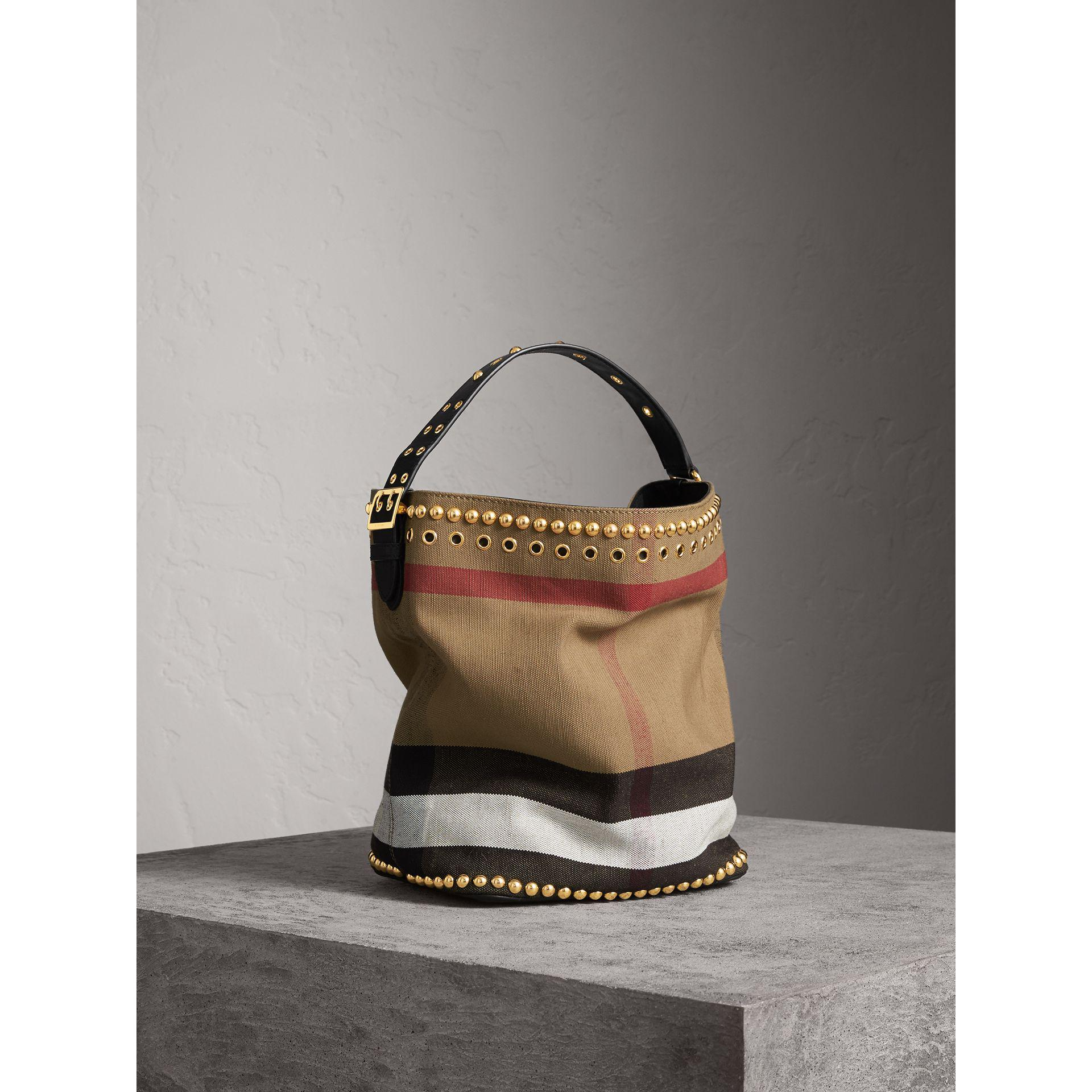 5370bdd2b820 Burberry The Medium Ashby In Riveted Canvas Check And Leather in ...