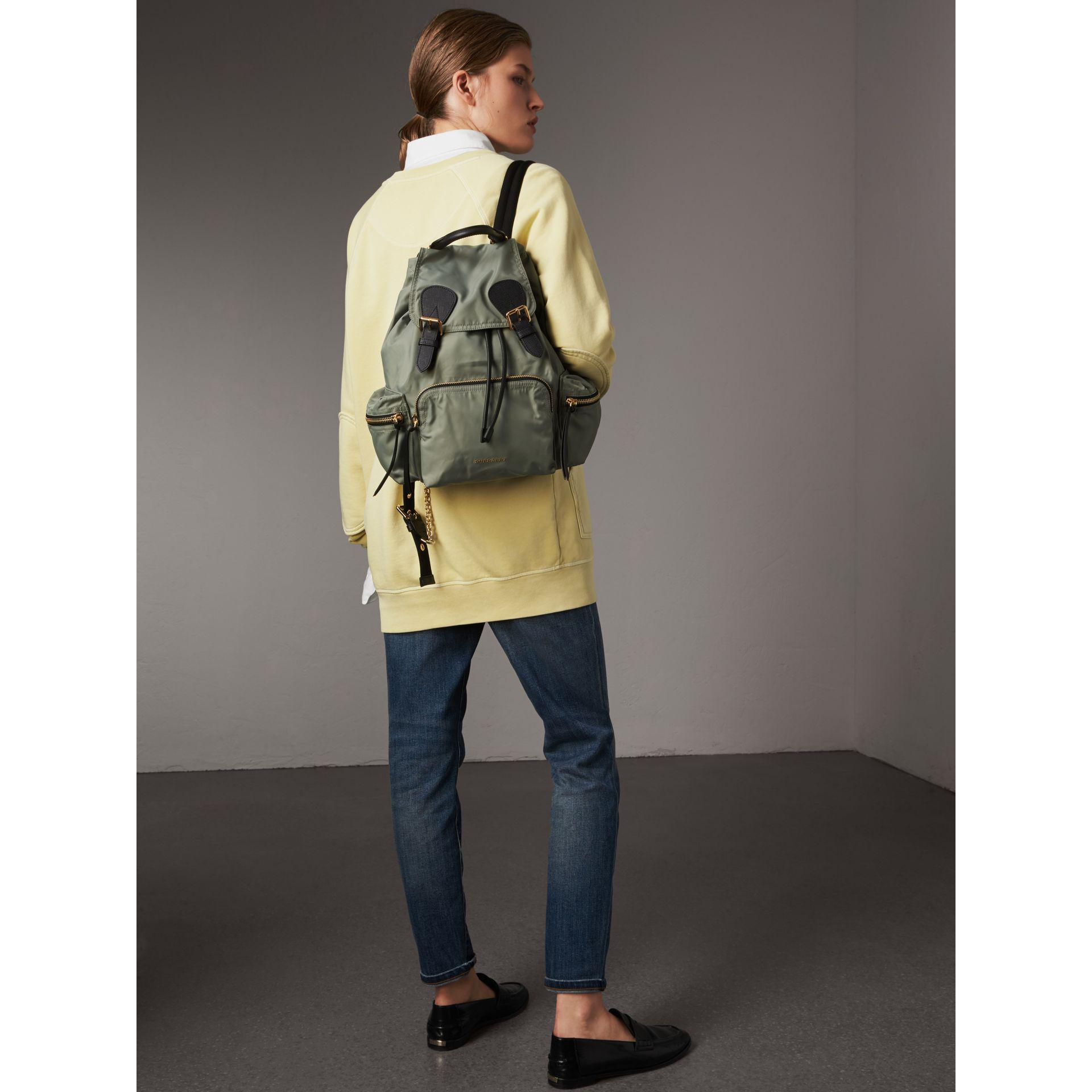a552b1e3bbe4 Burberry The Medium Rucksack In Technical Nylon And Leather Thistle ...