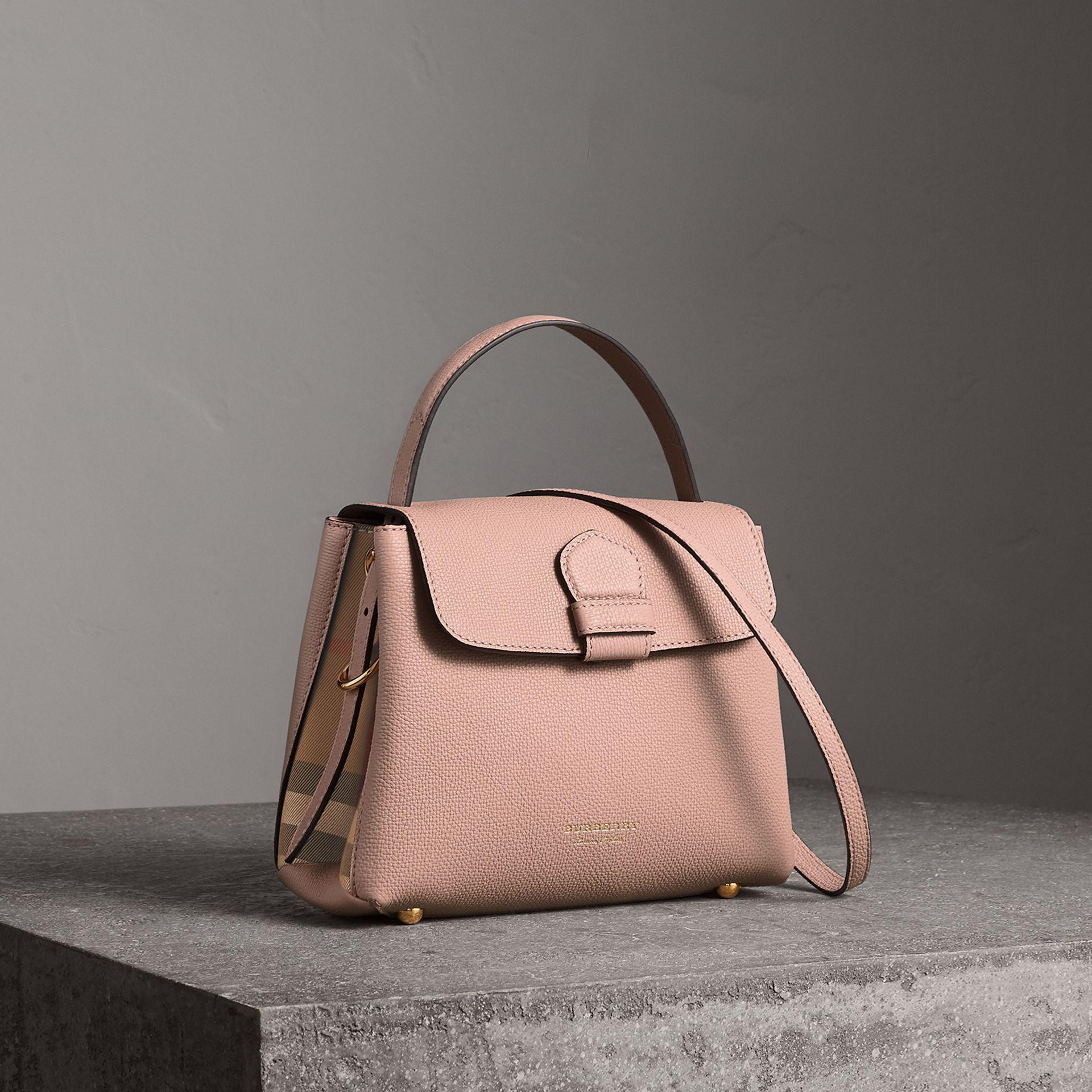 d3df3726b64f Lyst - Burberry Small Grainy Leather And House Check Tote Bag in Brown