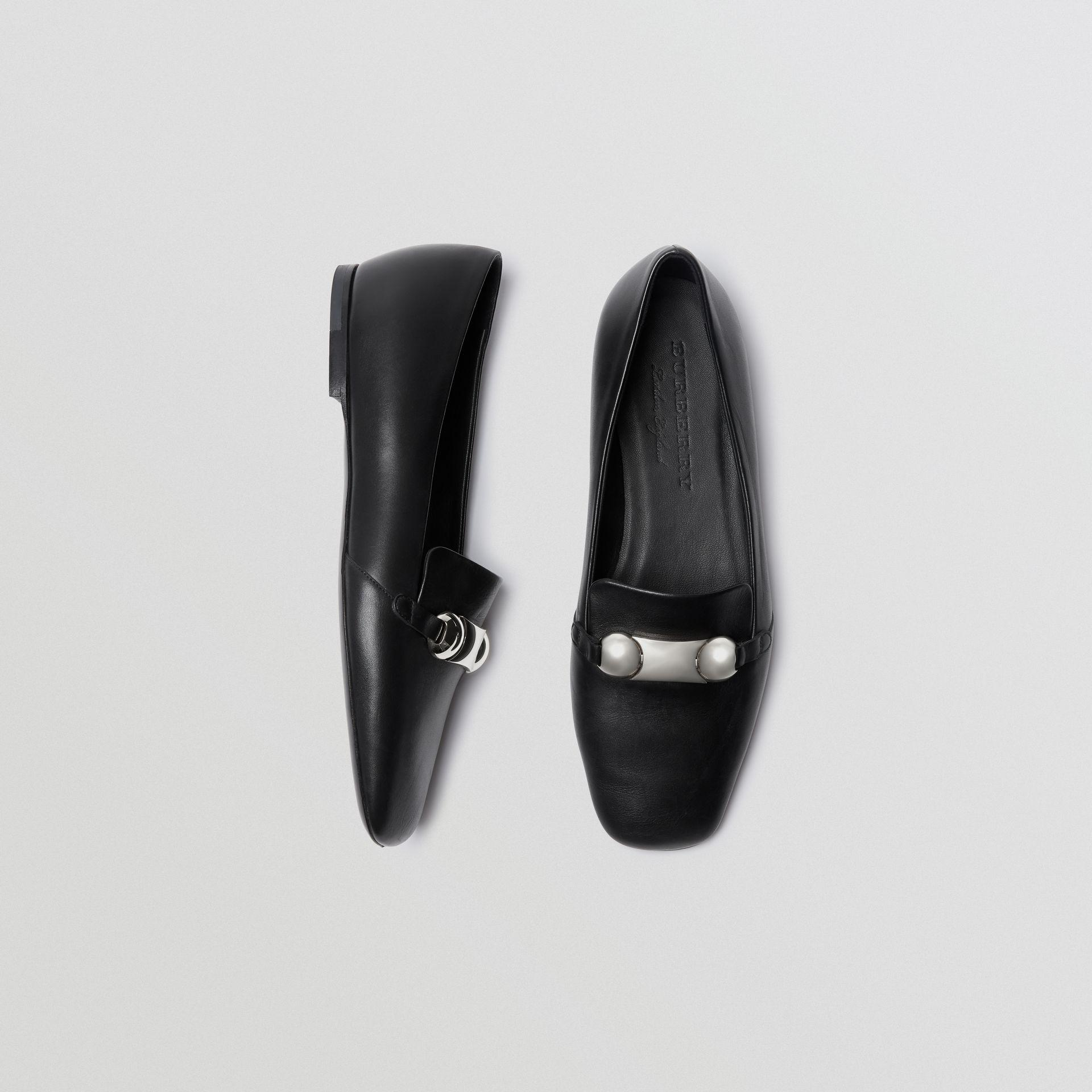 7b34c541977 Burberry Studded Bar Detail Leather Loafers in Black - Lyst