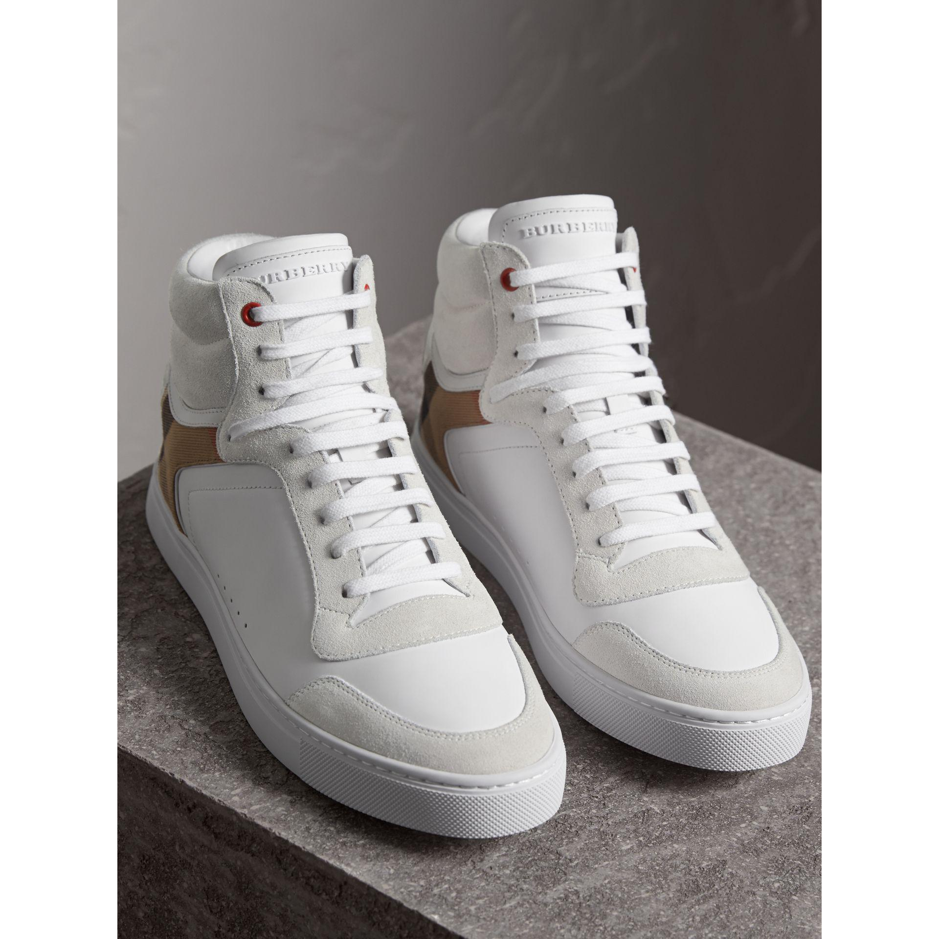 Leather and House Check High-top Sneakers - White Burberry J23xYb