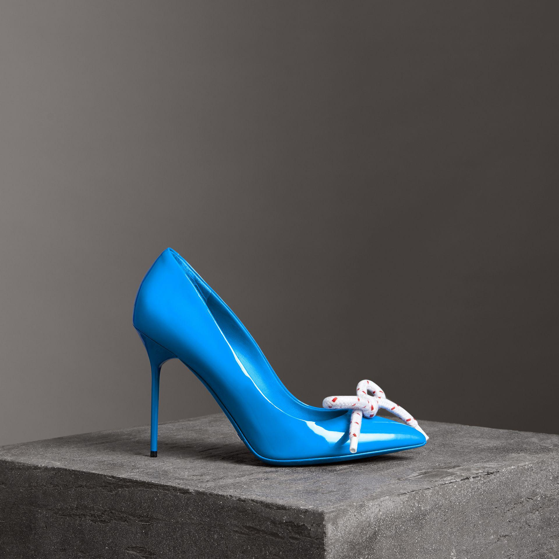 19c7af8c3d5 Lyst - Burberry The Patent Leather Rope Stiletto in Blue