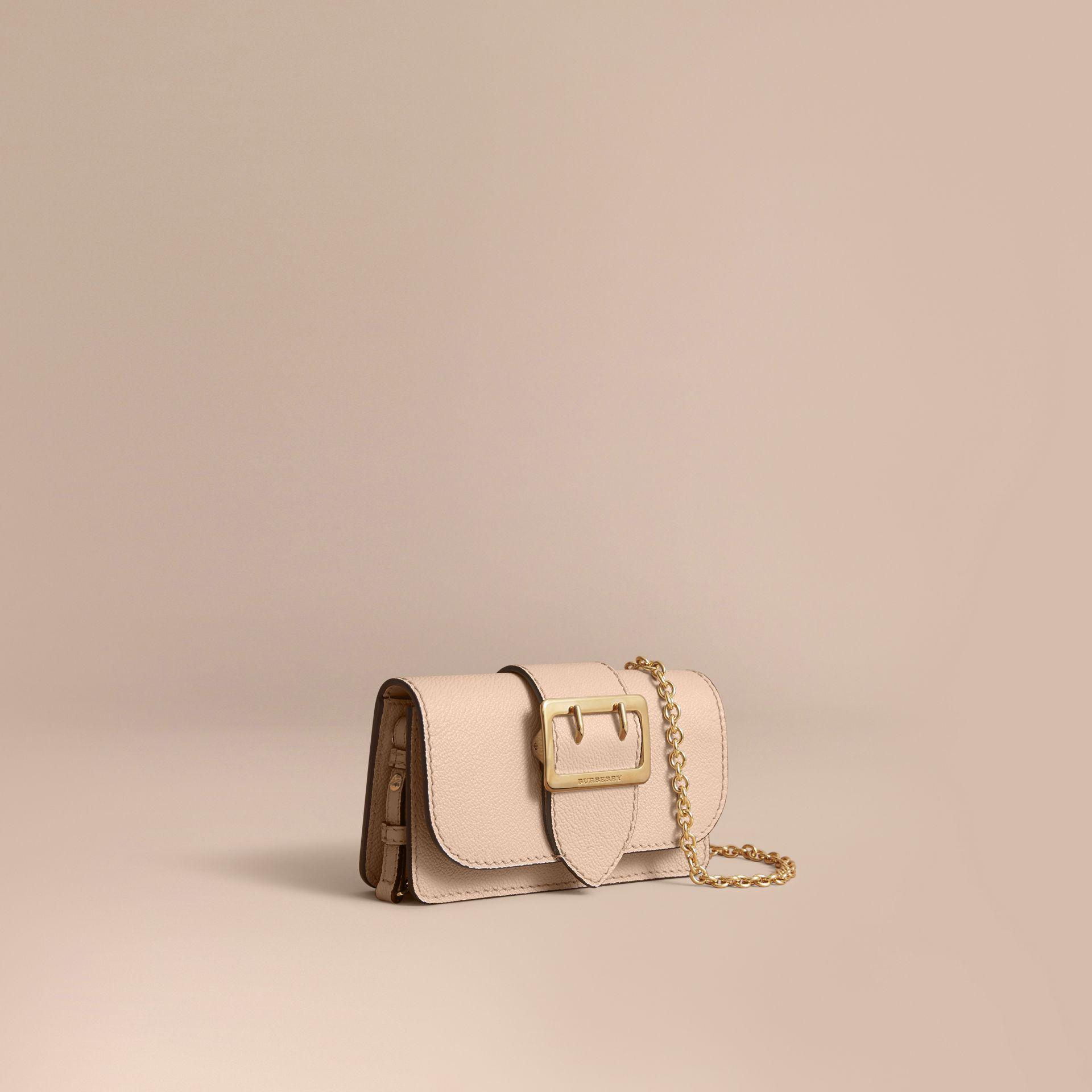 28de1127fcc Burberry The Mini Buckle Bag In Grainy Leather Limestone - Lyst